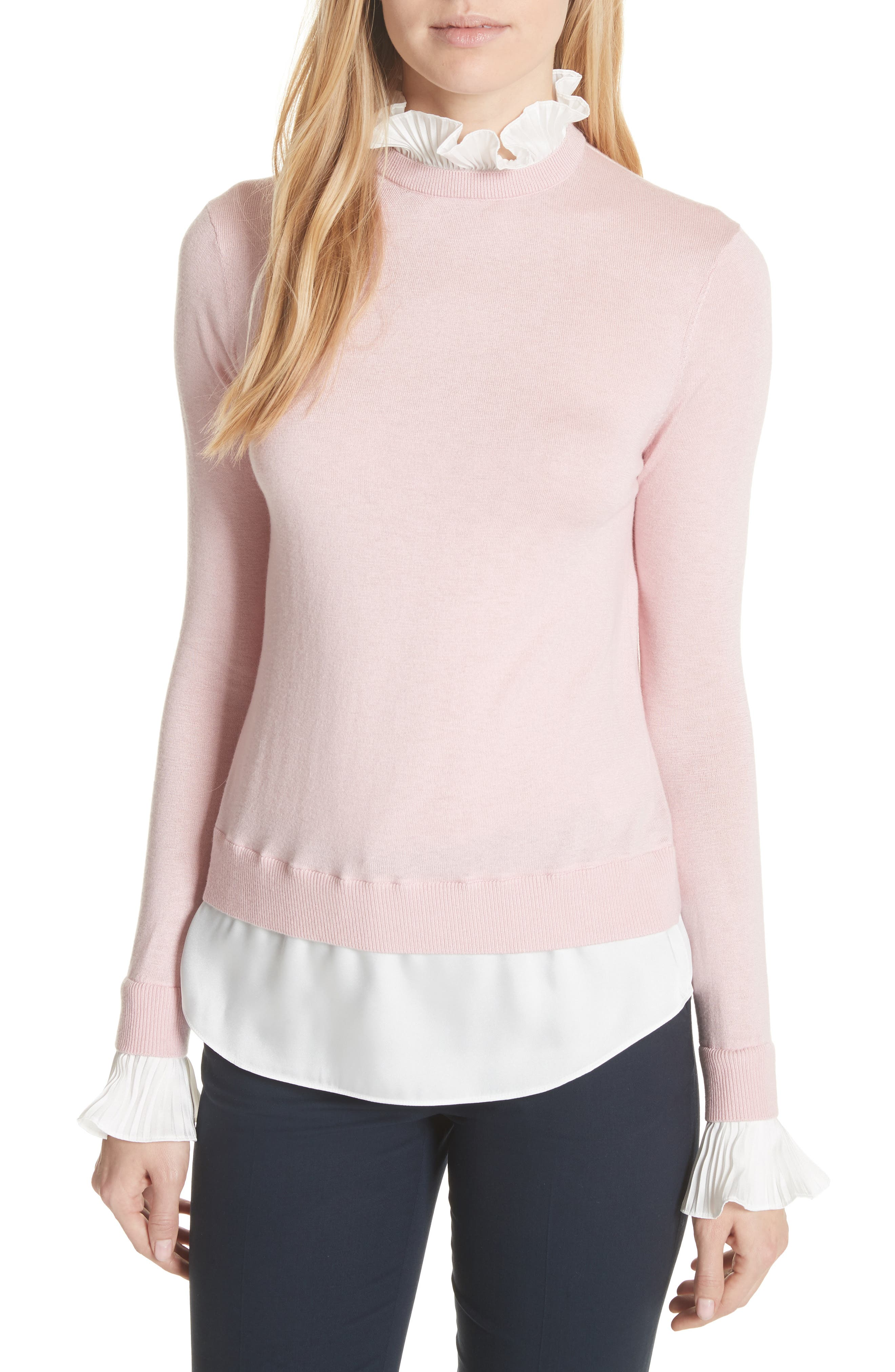 Ted Baker London Pleated Ruffle Contrast Sweater