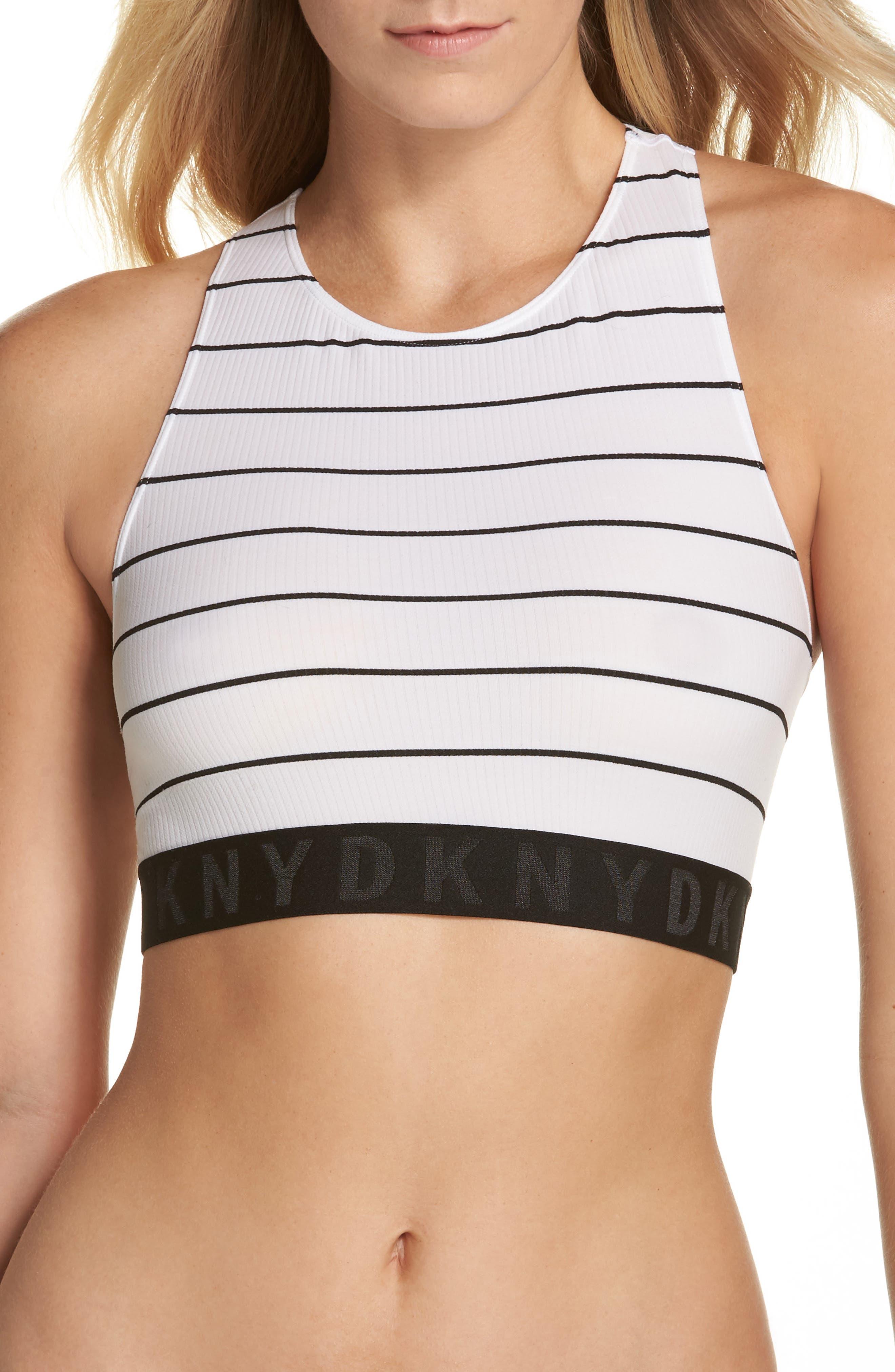 LiteWear Seamless Bralette,                         Main,                         color, Poplin Stripe/Black