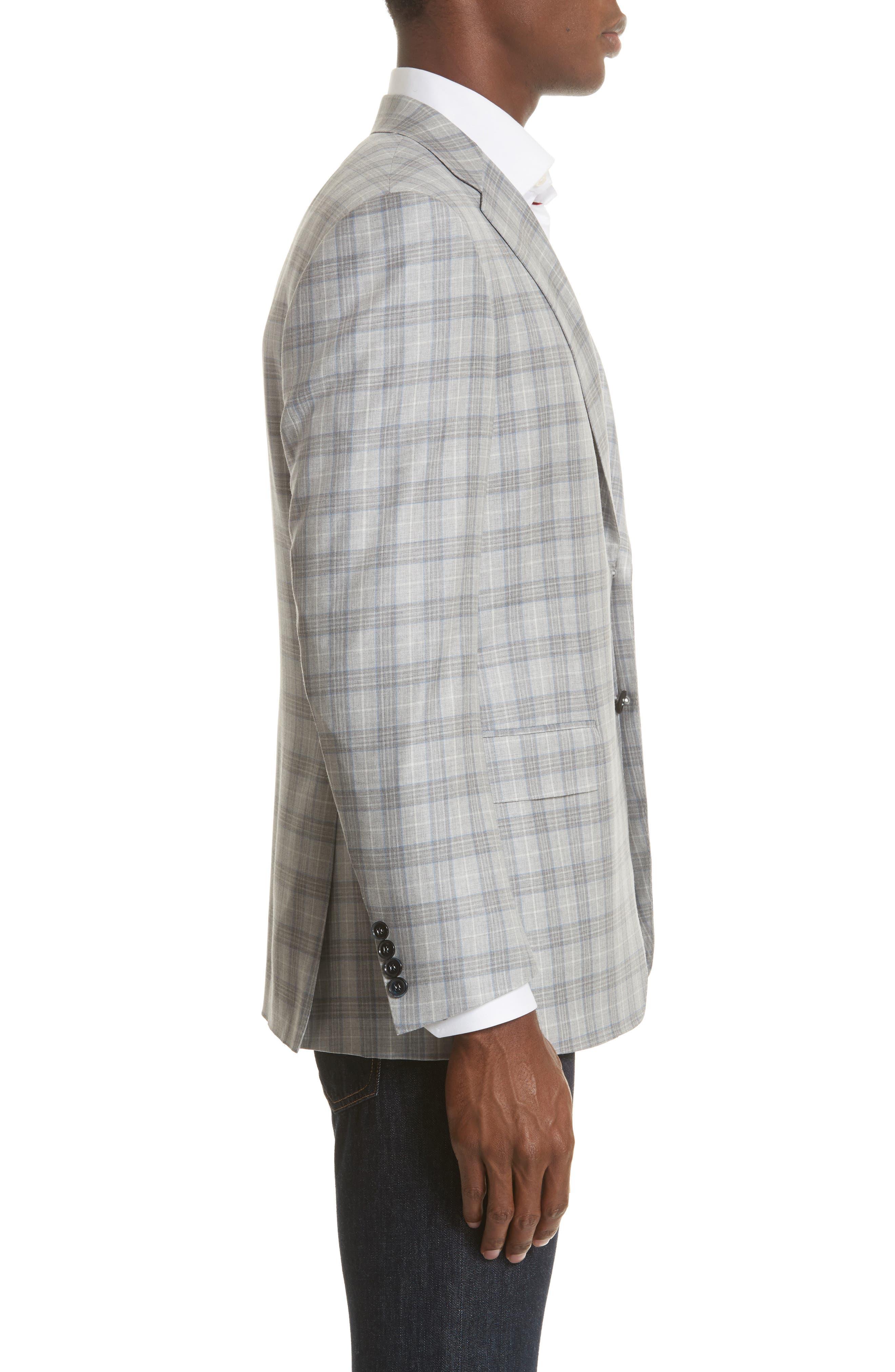Classic Fit Plaid Wool Sport Coat,                             Alternate thumbnail 3, color,                             Grey