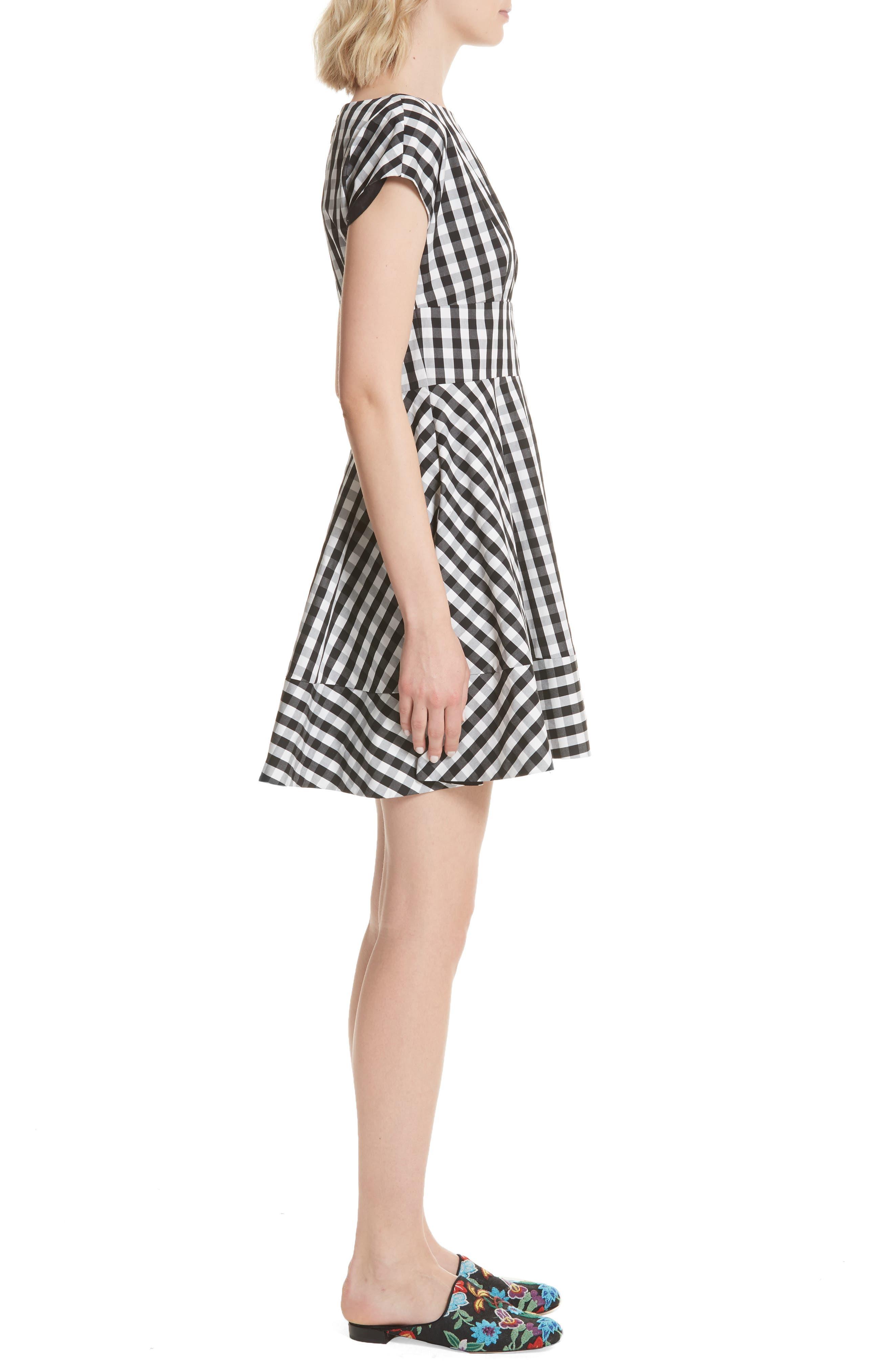 fiorella gingham fit & flare dress,                             Alternate thumbnail 3, color,                             Black