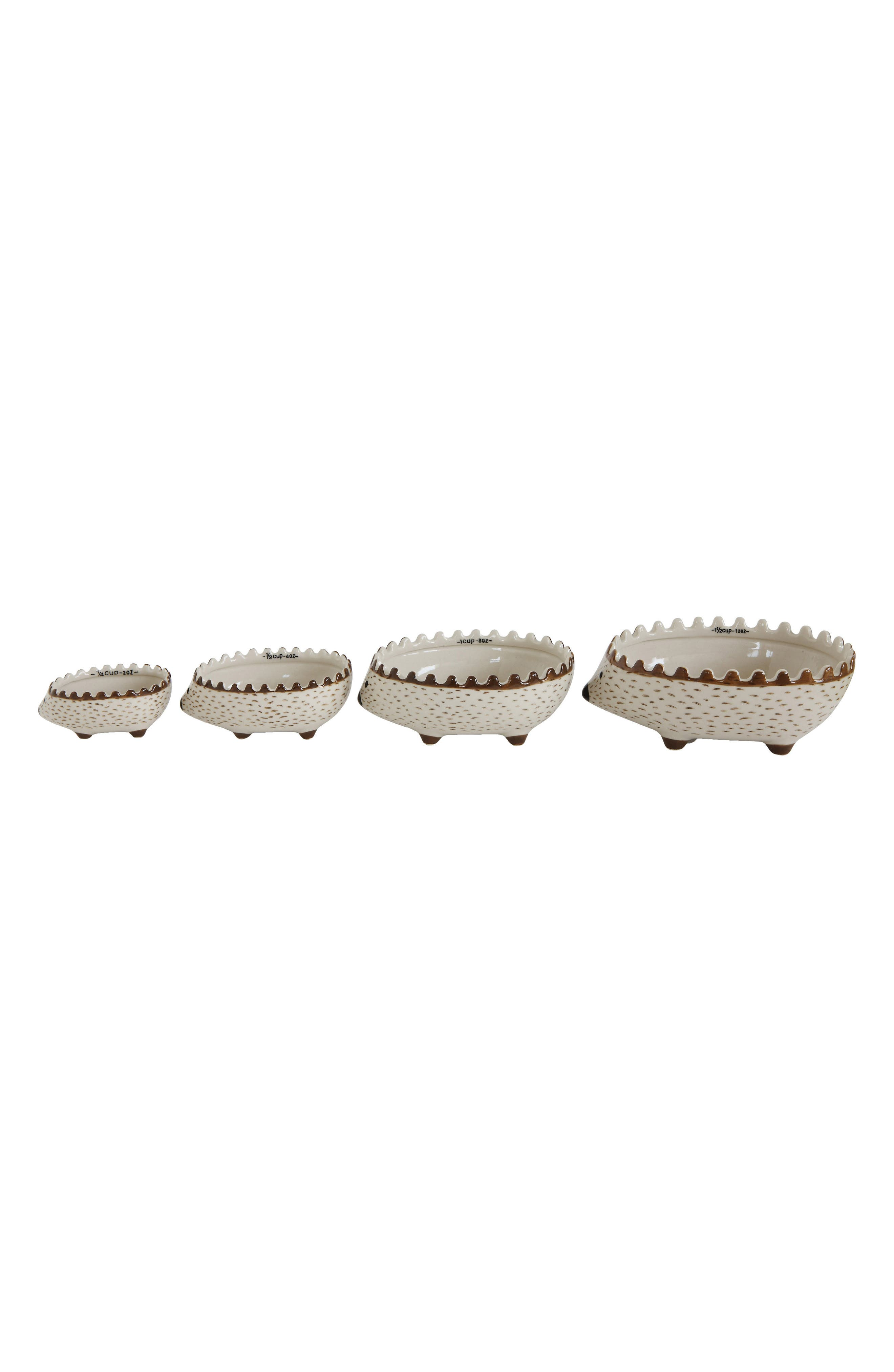Set of 4 Hedgehog Measuring Cups,                         Main,                         color, White