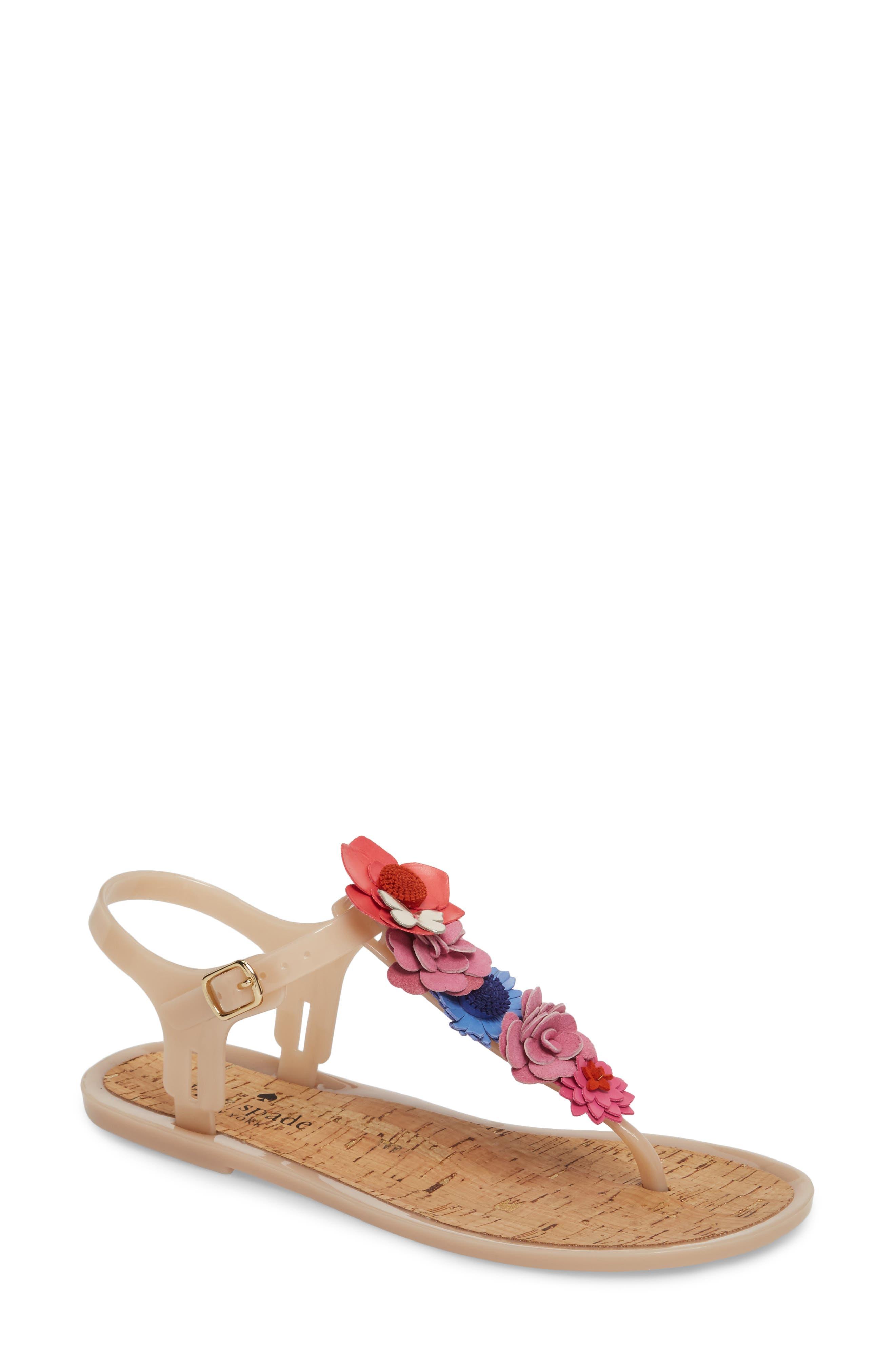 fatema floral embellished T-strap sandal,                         Main,                         color, Dusty Mauve