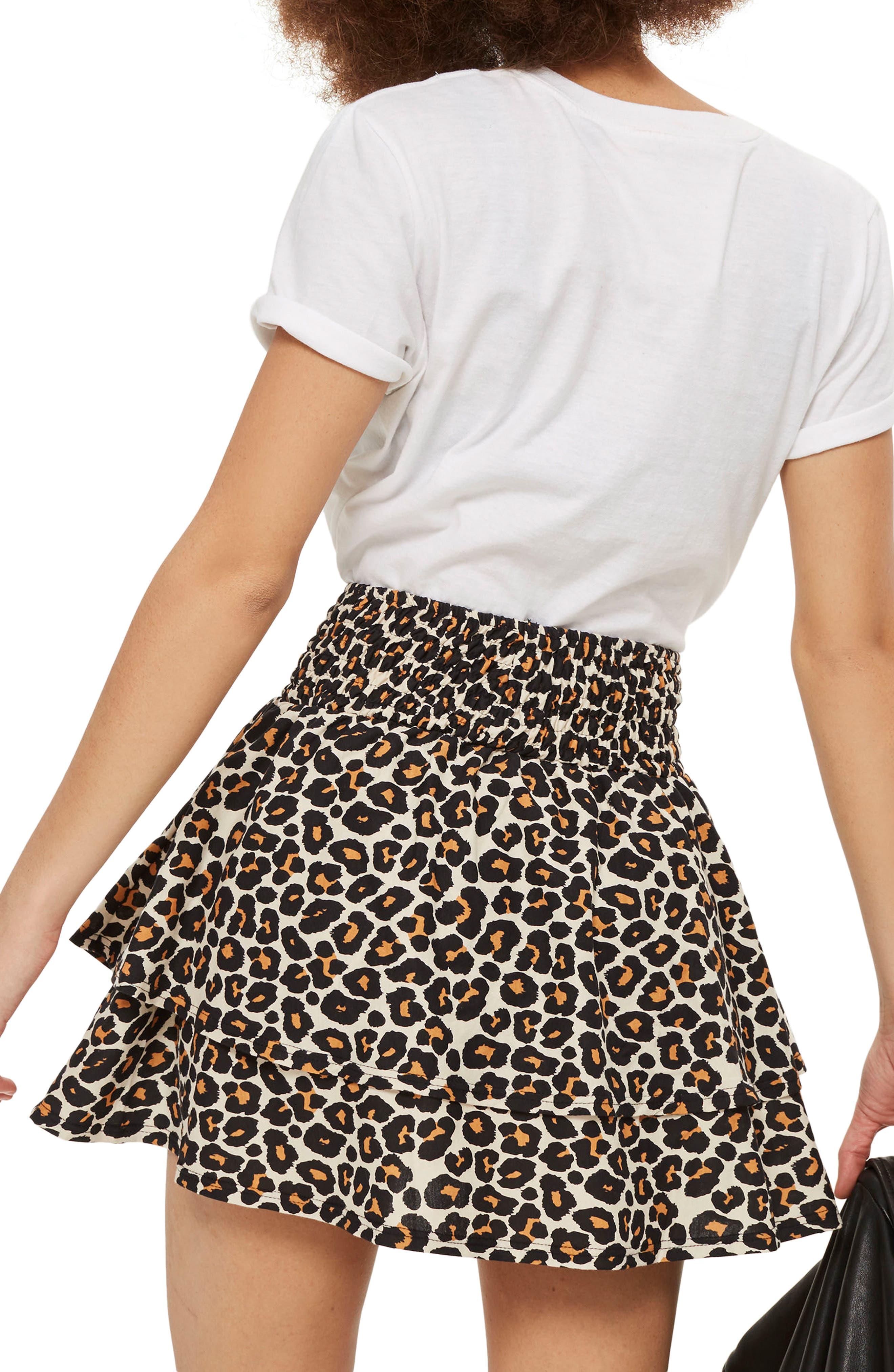 Tiered Leopard Skirt,                             Alternate thumbnail 2, color,                             Leopard