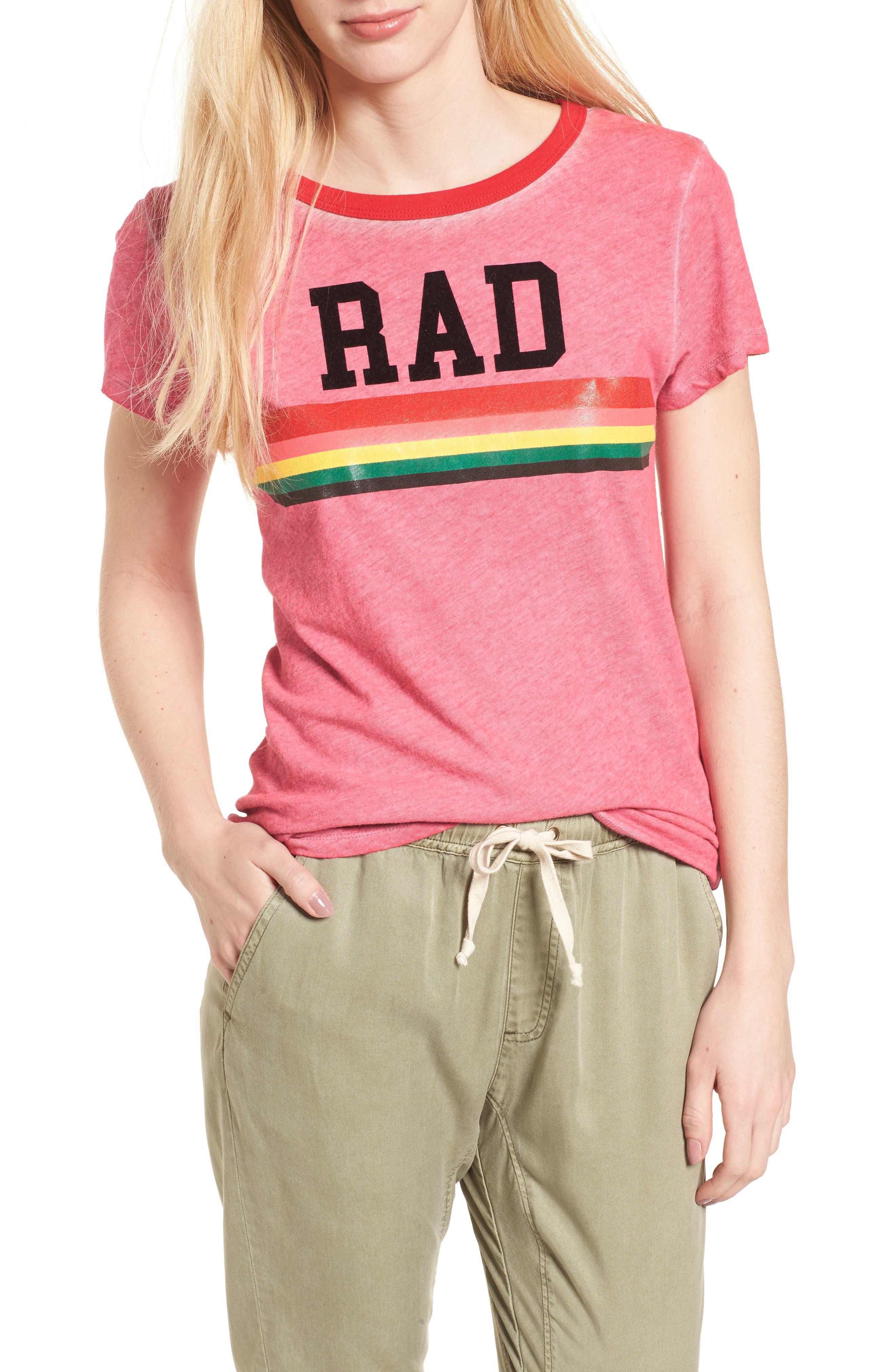 Rad Rainbow Ringer Tee,                             Main thumbnail 1, color,                             Neon Pink