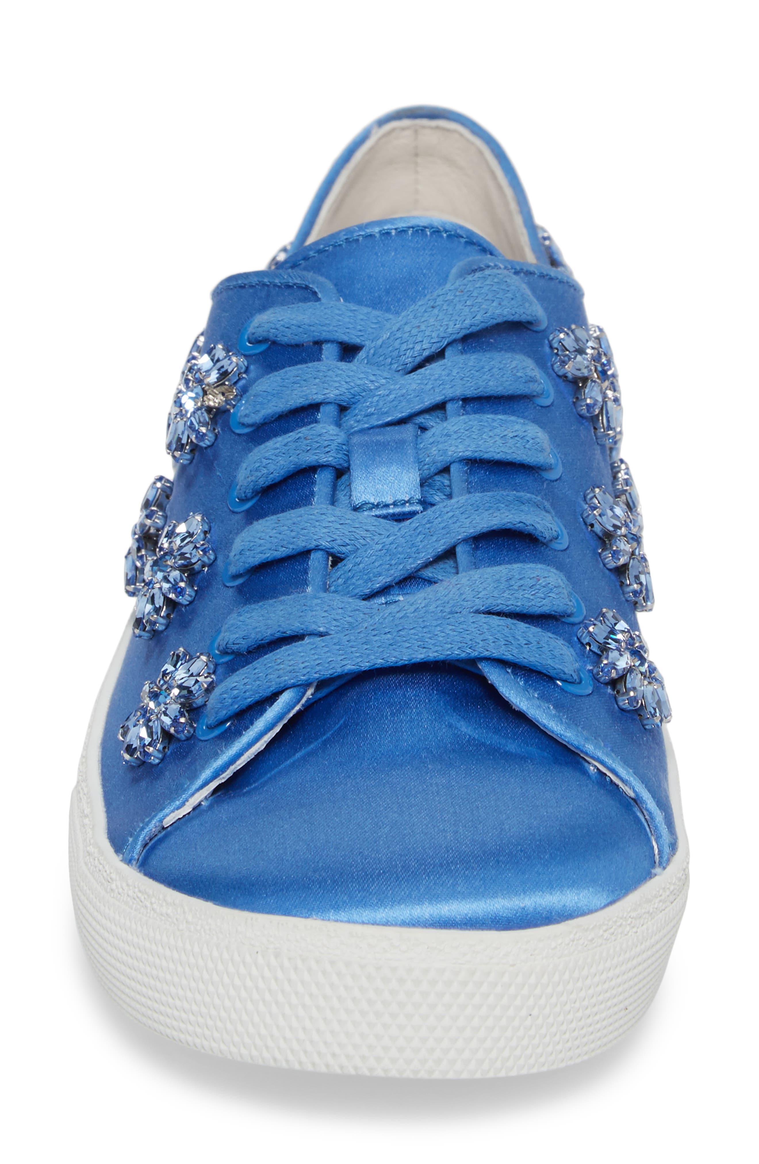 Cleo Crystal Embellished Sneaker,                             Alternate thumbnail 4, color,                             Cerulean