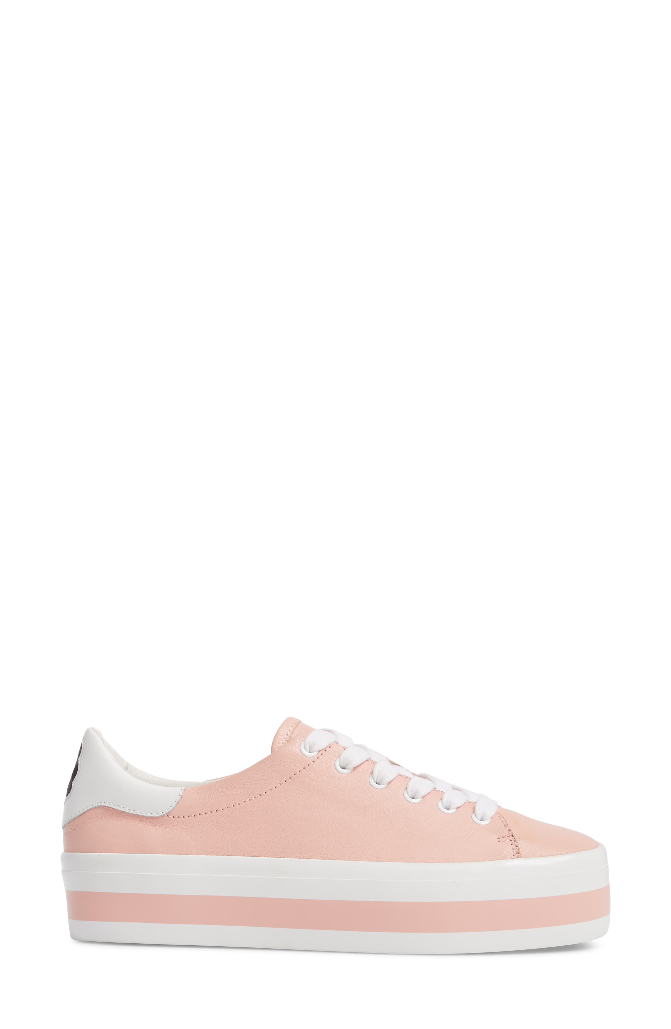 Ezra Flatform Sneaker,                             Alternate thumbnail 3, color,                             Perfect Pink / Pure White