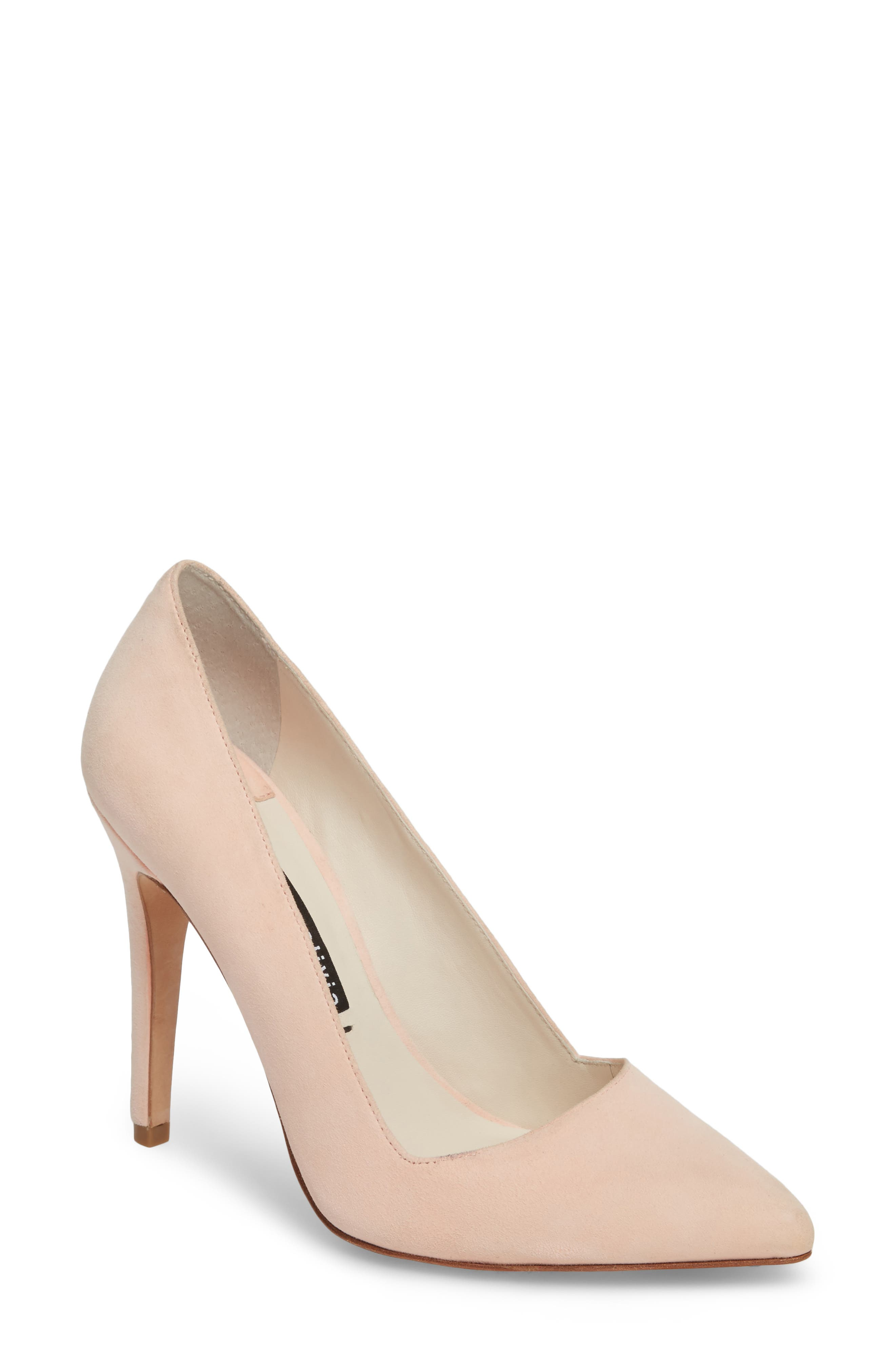 Dina 95 Whipstitch Pointy Toe Pump,                             Main thumbnail 1, color,                             Perfect Pink Suede