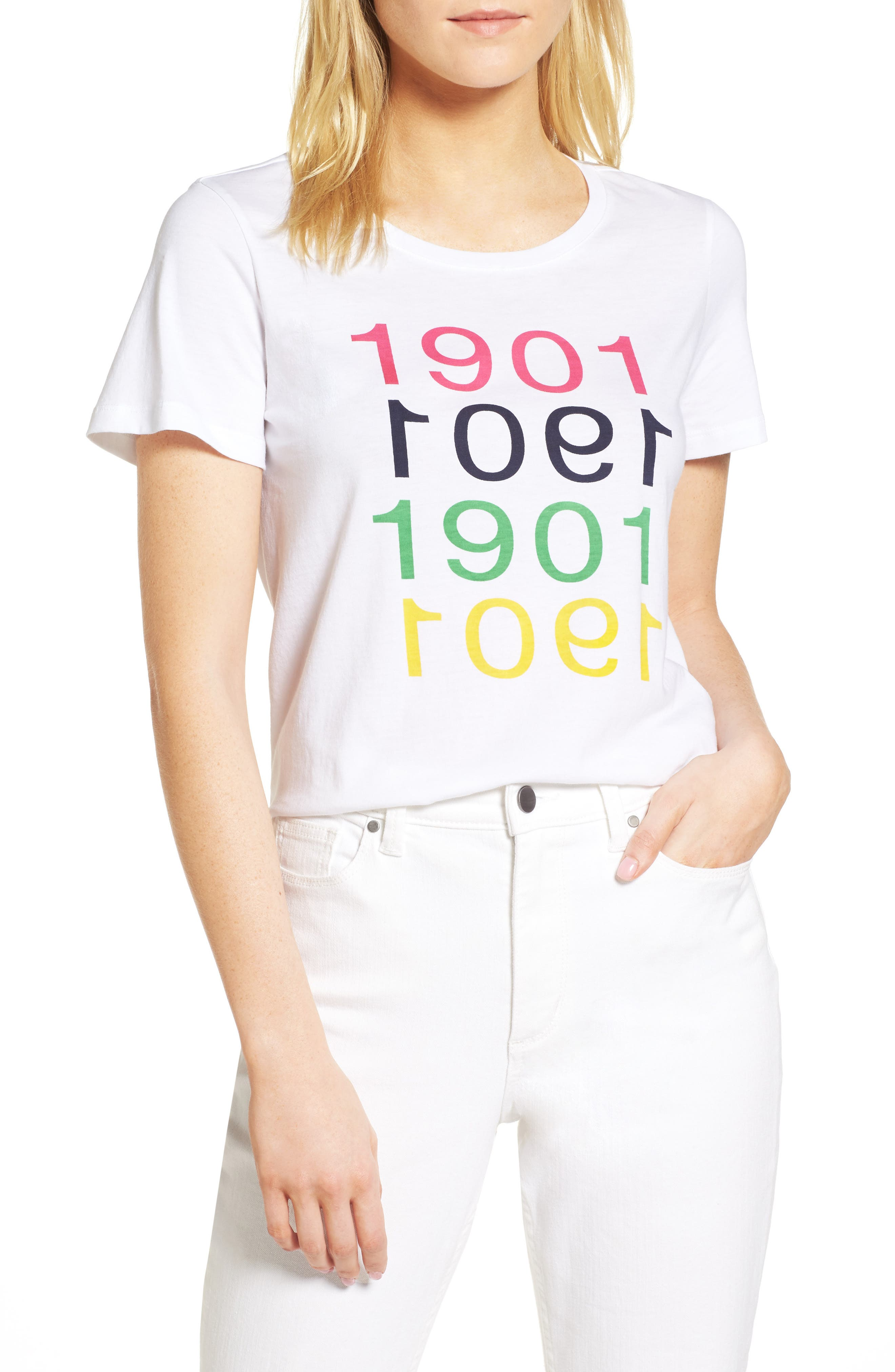 Short Sleeve Cotton Tee,                             Main thumbnail 1, color,                             White Multi 1901