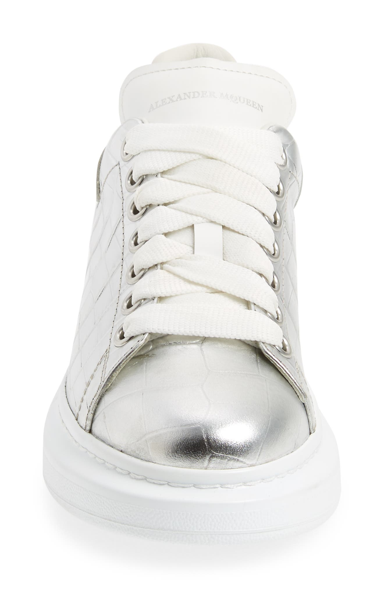 Croc Embossed Lace-Up Sneaker,                             Alternate thumbnail 4, color,                             Metallic Silver