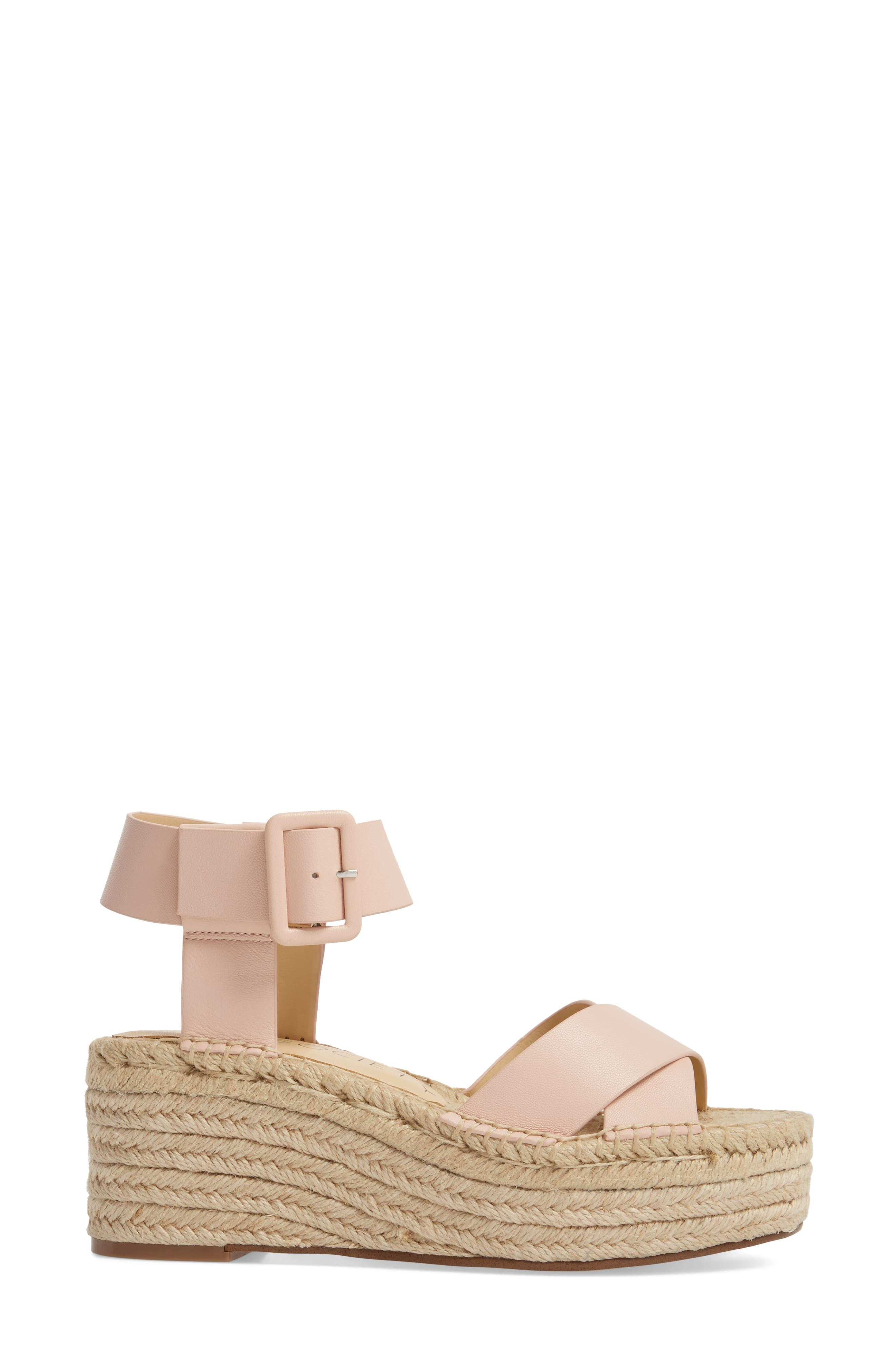 'Audrina' Platform Espadrille Sandal,                             Alternate thumbnail 3, color,                             Rose Blush