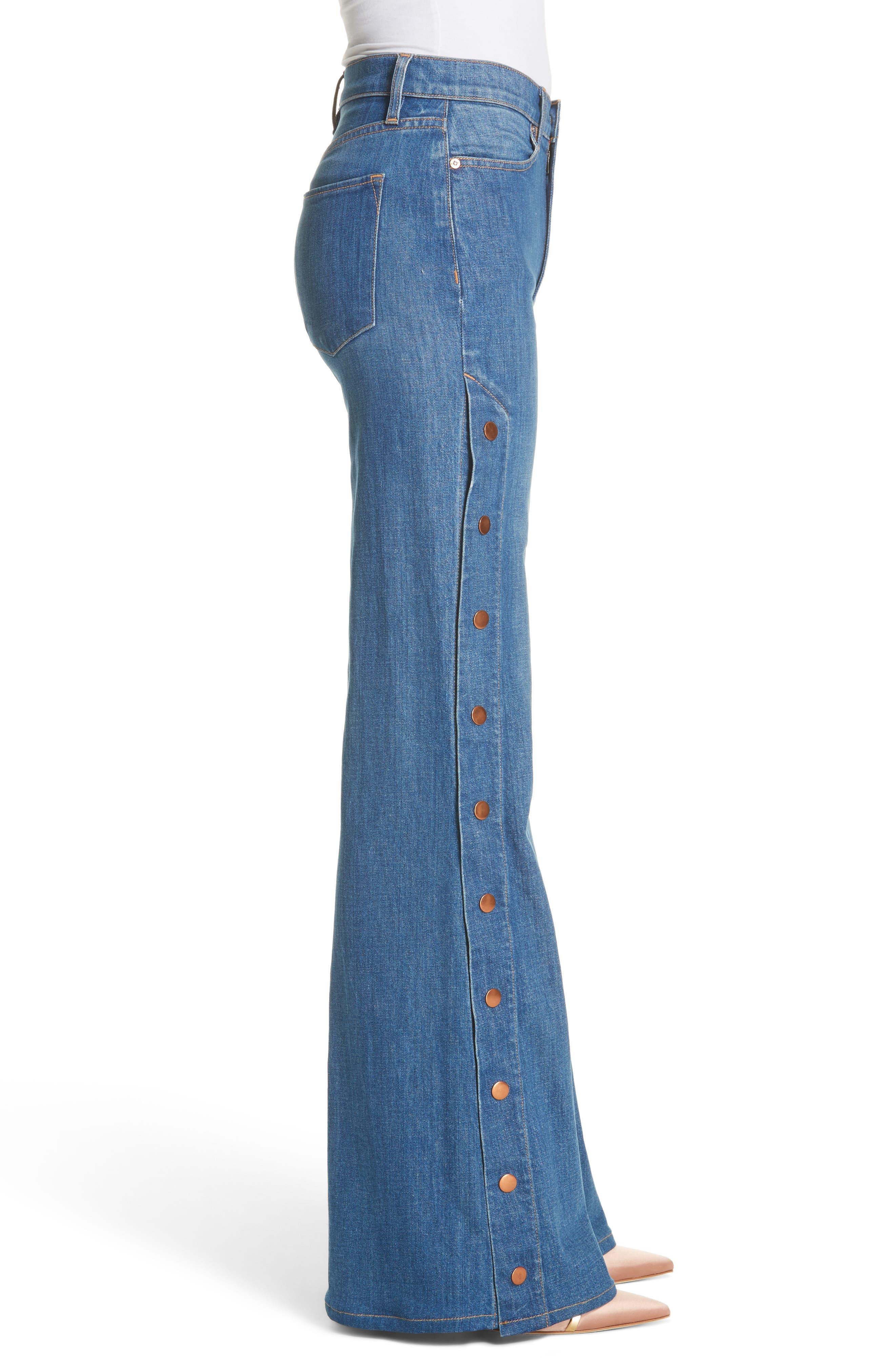 AO.LA Gorgeous Snap Side Flare Leg Jeans,                             Alternate thumbnail 3, color,                             French Blue