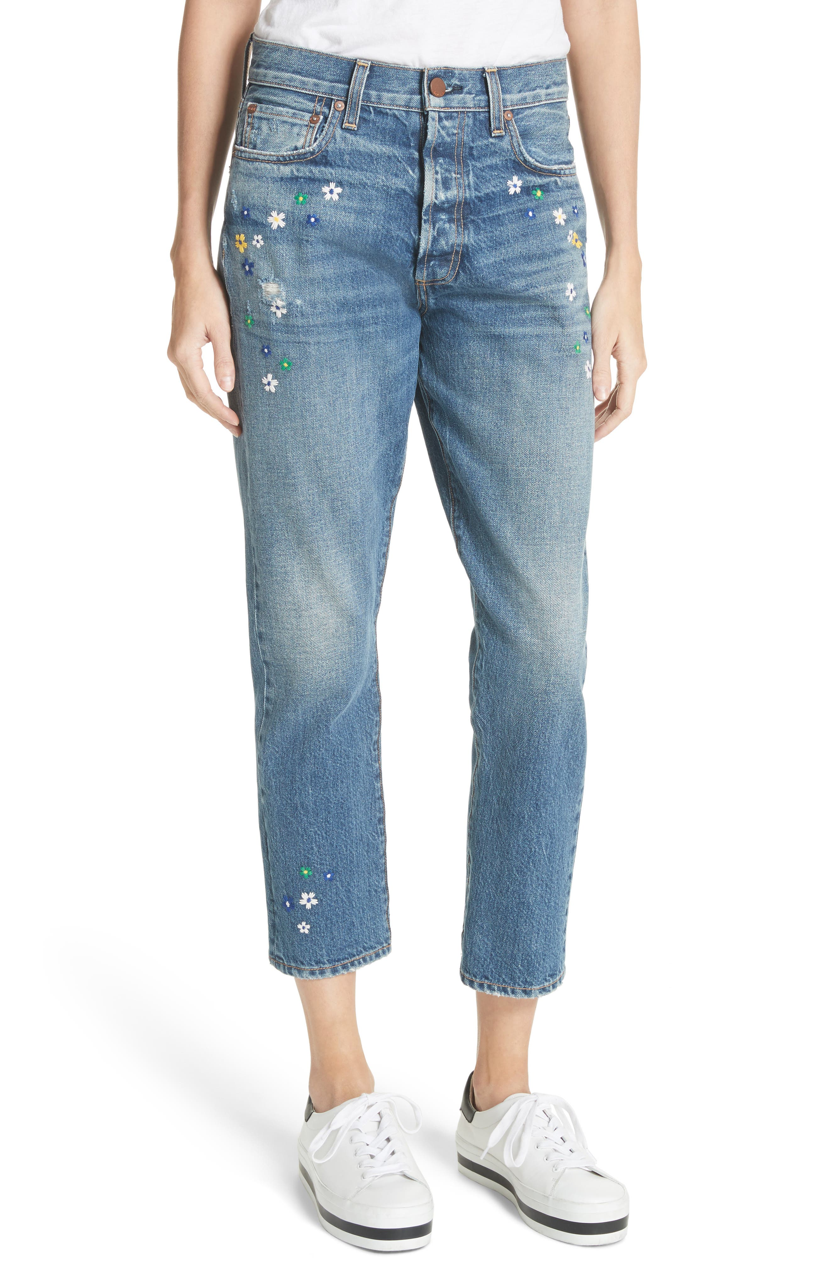 AO.LA Amazing Embroidered Slim Girlfriend Jeans,                         Main,                         color, Guilty As Charged