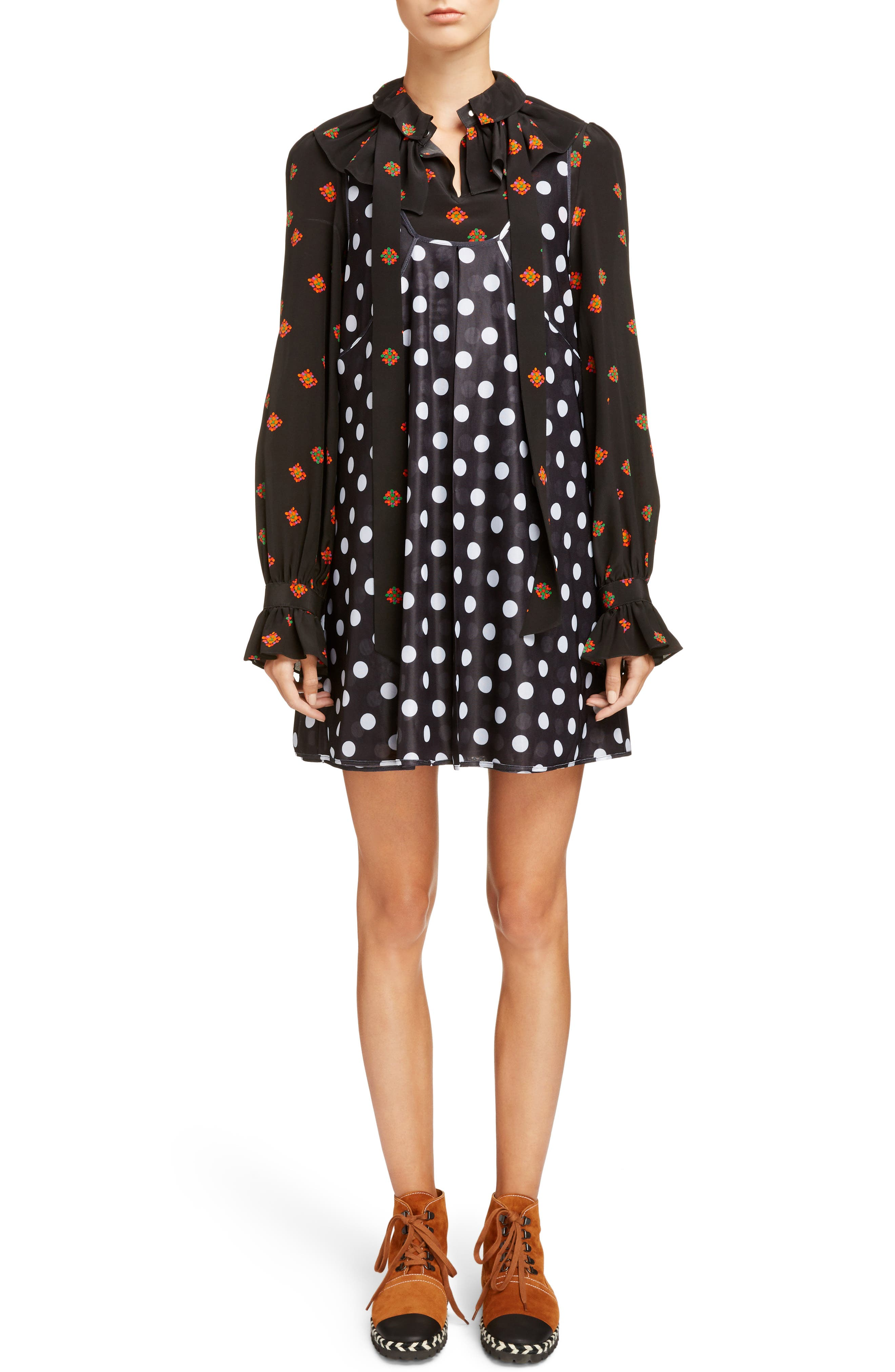 Polka Dot Minidress with Ditsy Floral Blouse,                         Main,                         color, Black