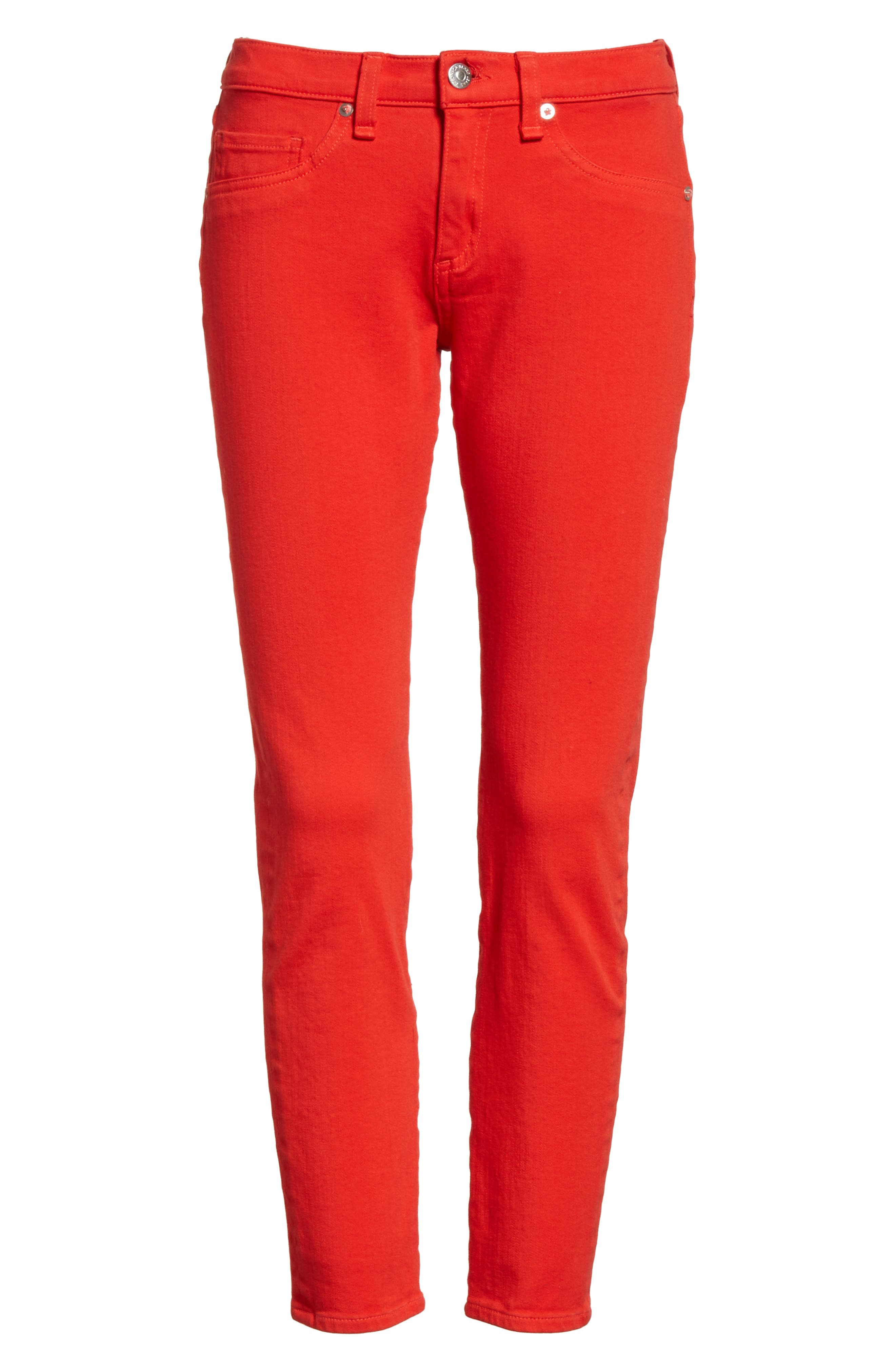 Brook Crop Skinny Jeans,                             Alternate thumbnail 6, color,                             Neon Red