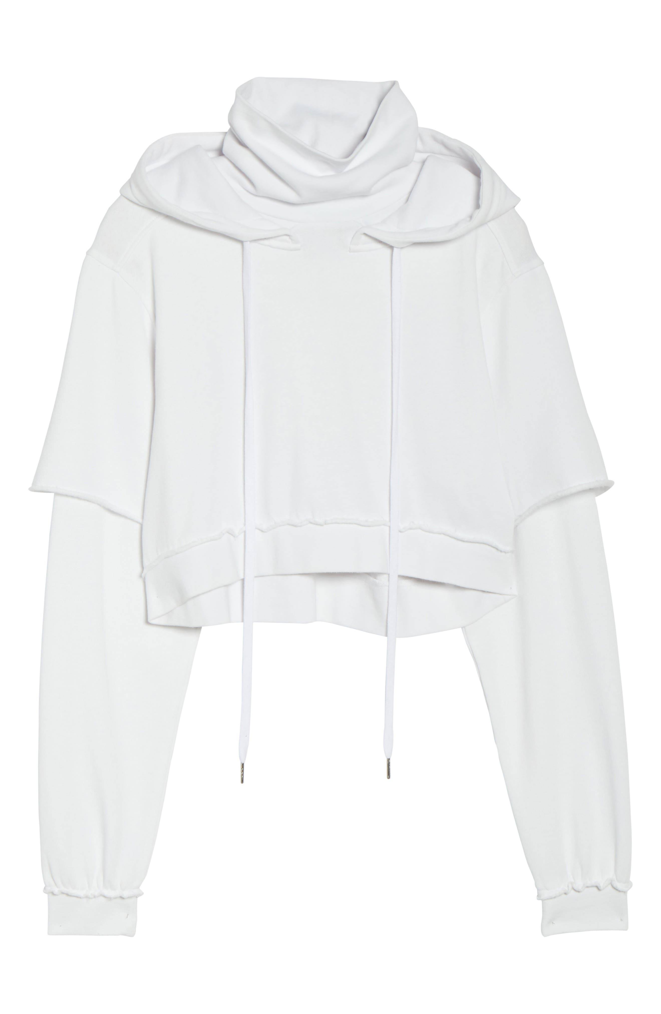 Good Hood Crop Hoodie,                             Alternate thumbnail 4, color,                             White