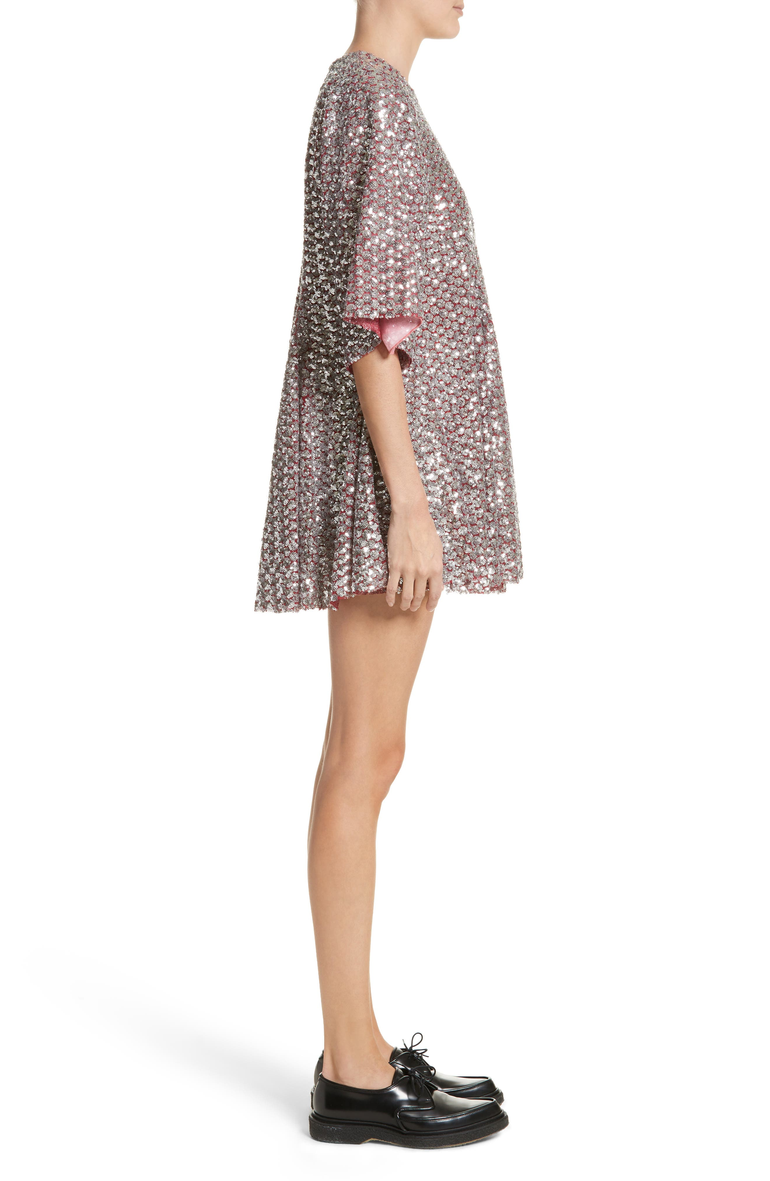 Simmi Sequin Dress,                             Alternate thumbnail 3, color,                             Red/ Silver