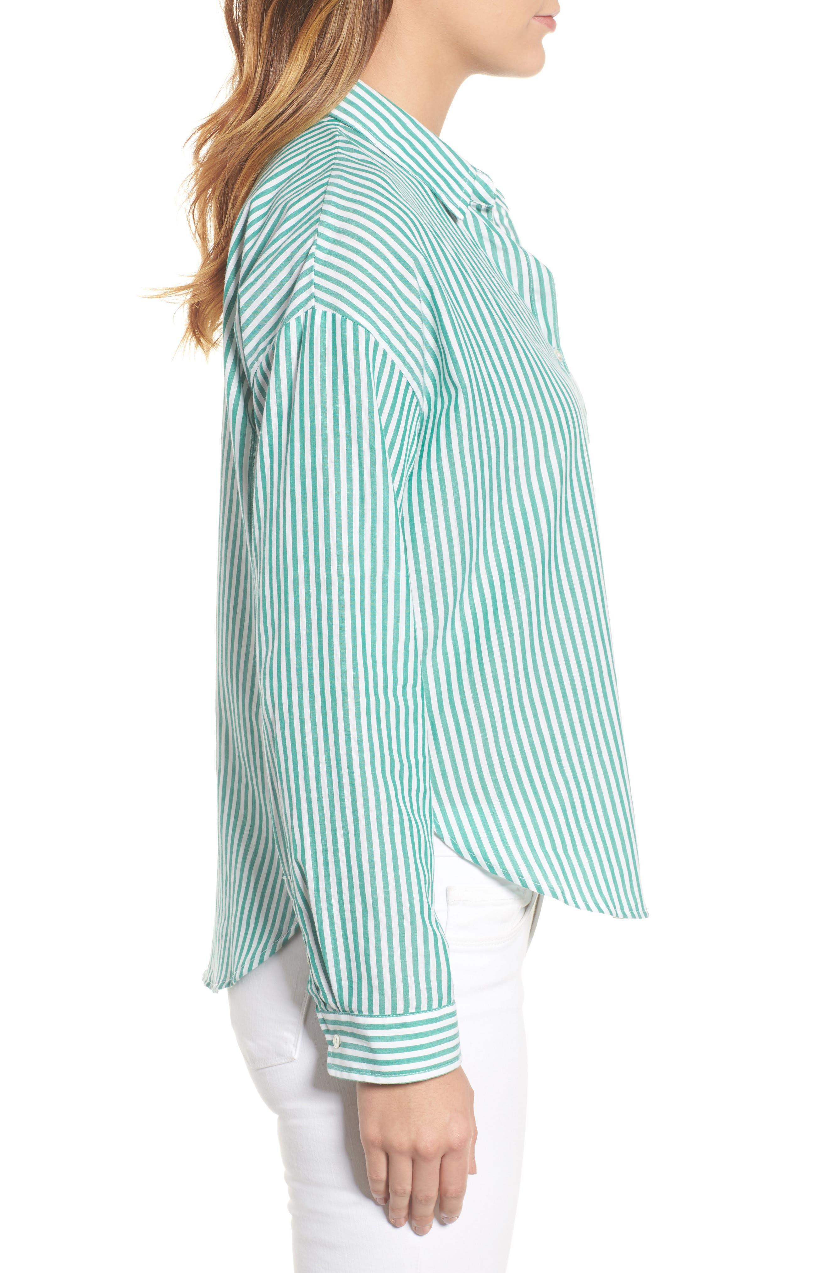 Popover Stripe Cotton Shirt,                             Alternate thumbnail 4, color,                             Green