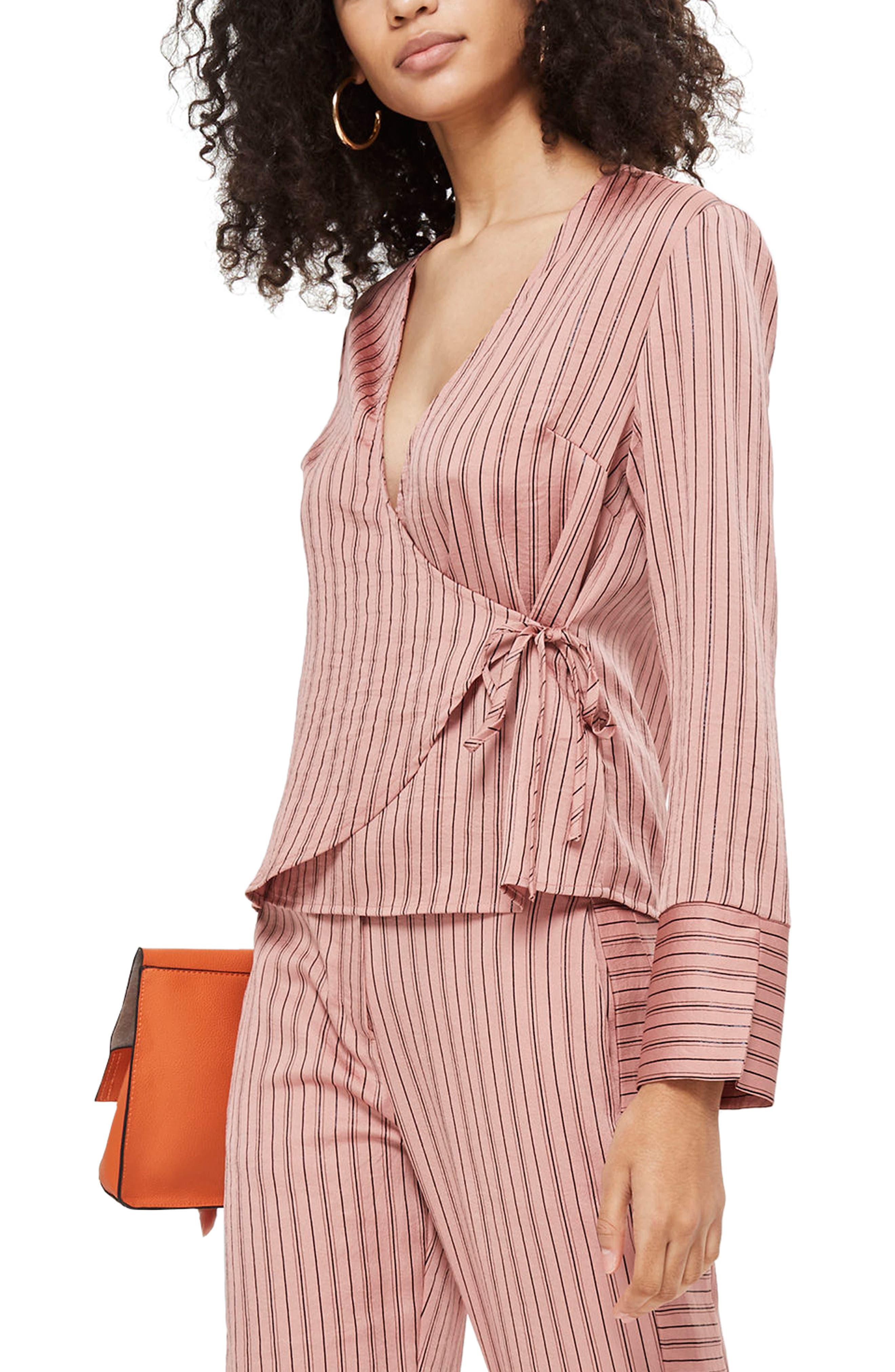 Stripe Wrap Blouse,                         Main,                         color, Blush Multi