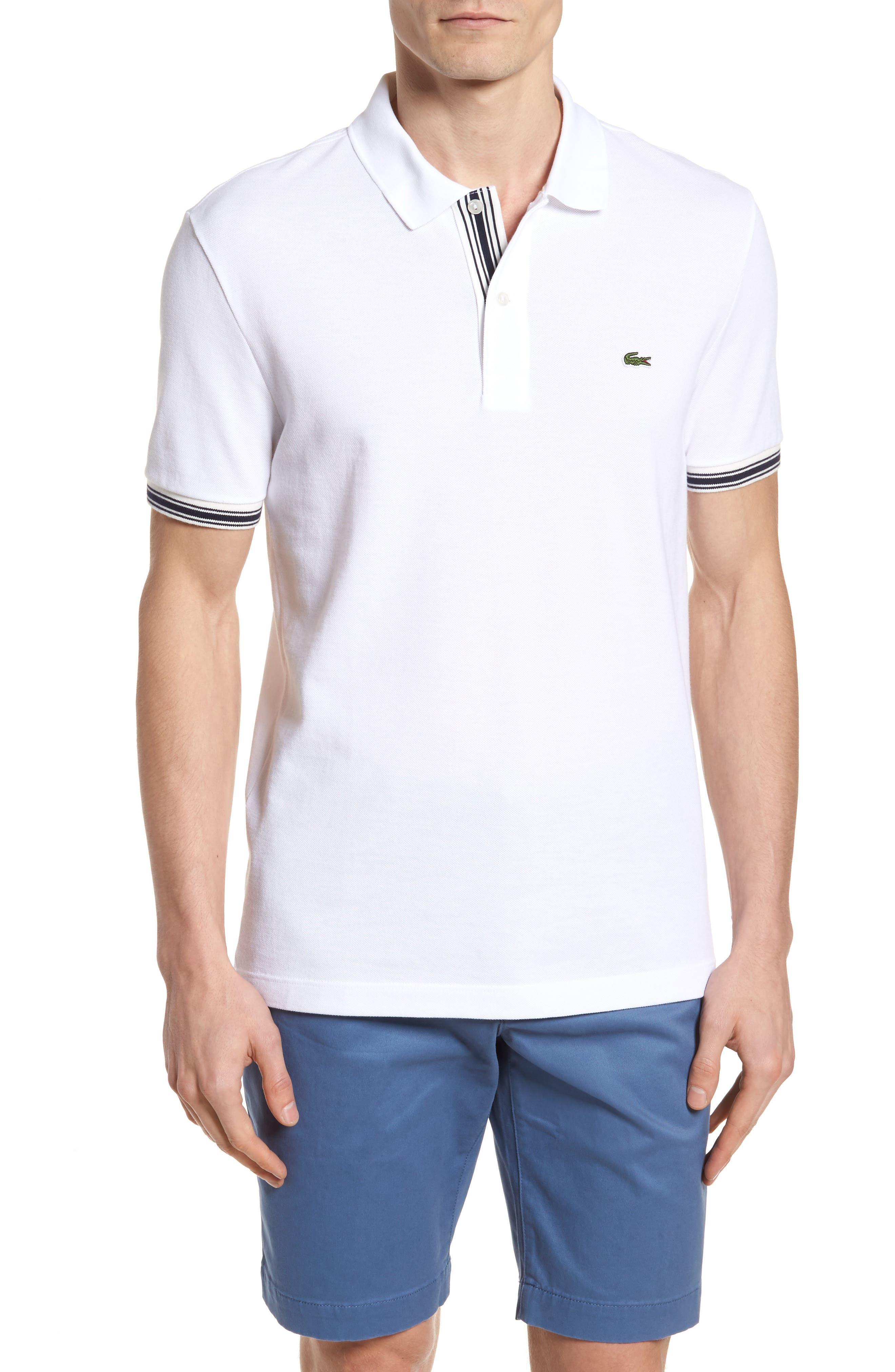 Slim Fit Stripe Sleeve Cotton Polo,                             Main thumbnail 1, color,                             White