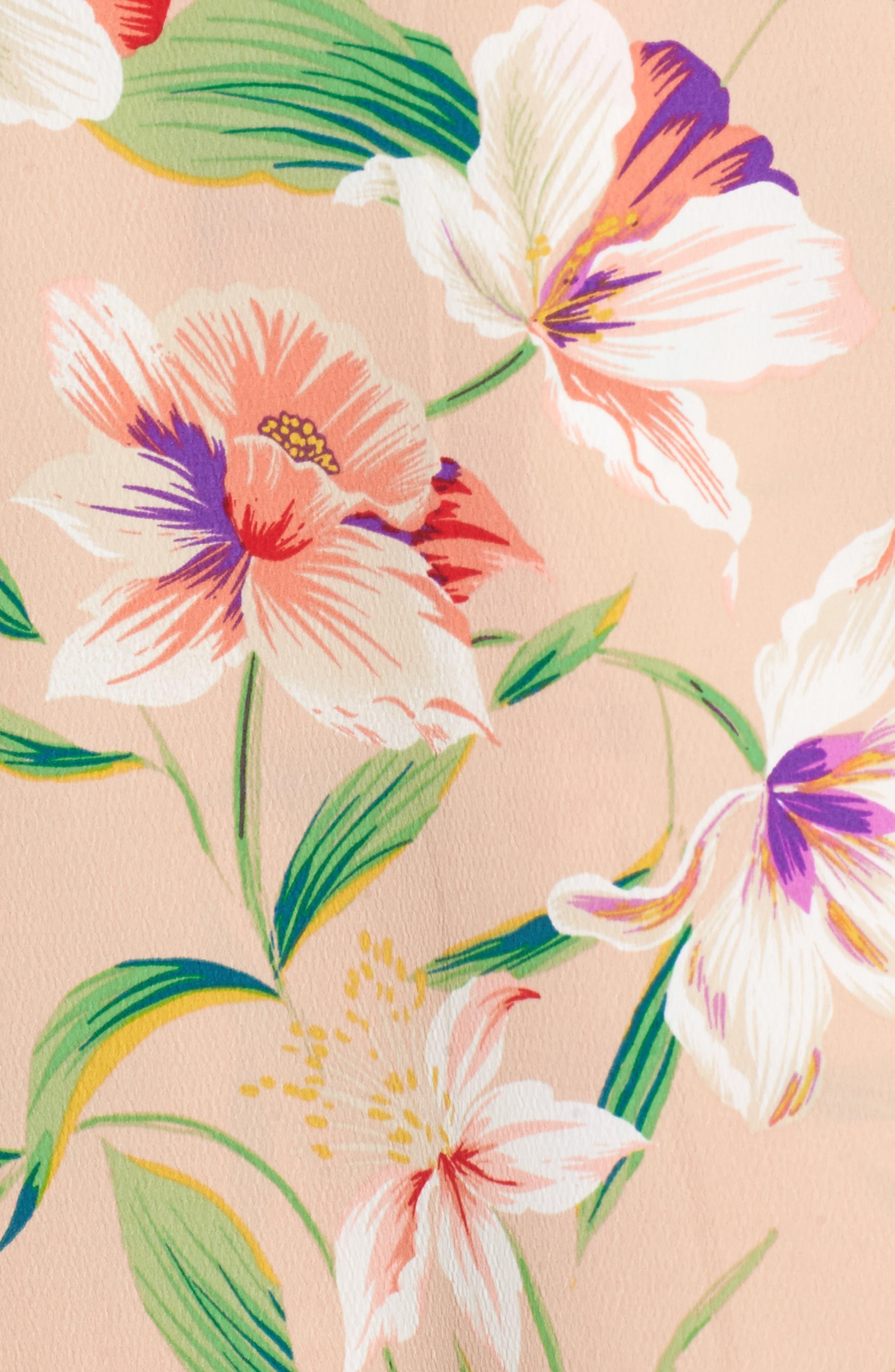 Floral Wrap Maxi Dress,                             Alternate thumbnail 5, color,                             Mocha-Multi Floral