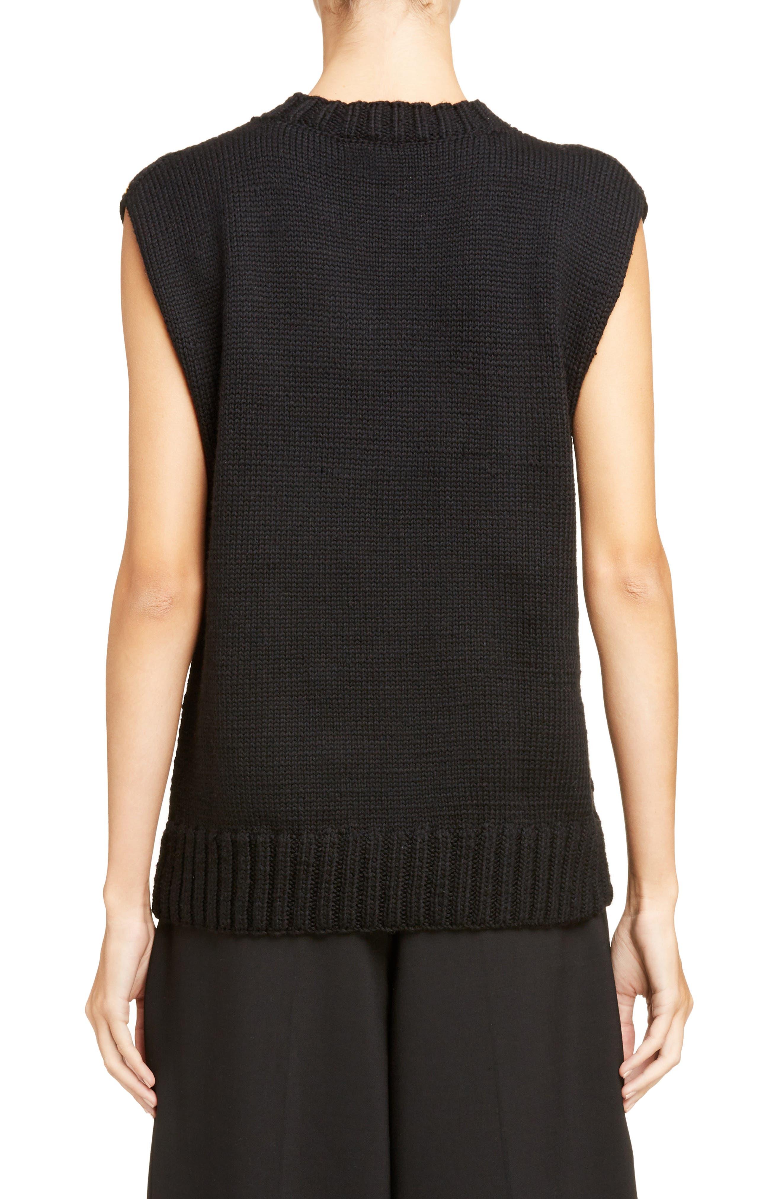 Palm Lady Sweater Tank,                             Alternate thumbnail 2, color,                             Black