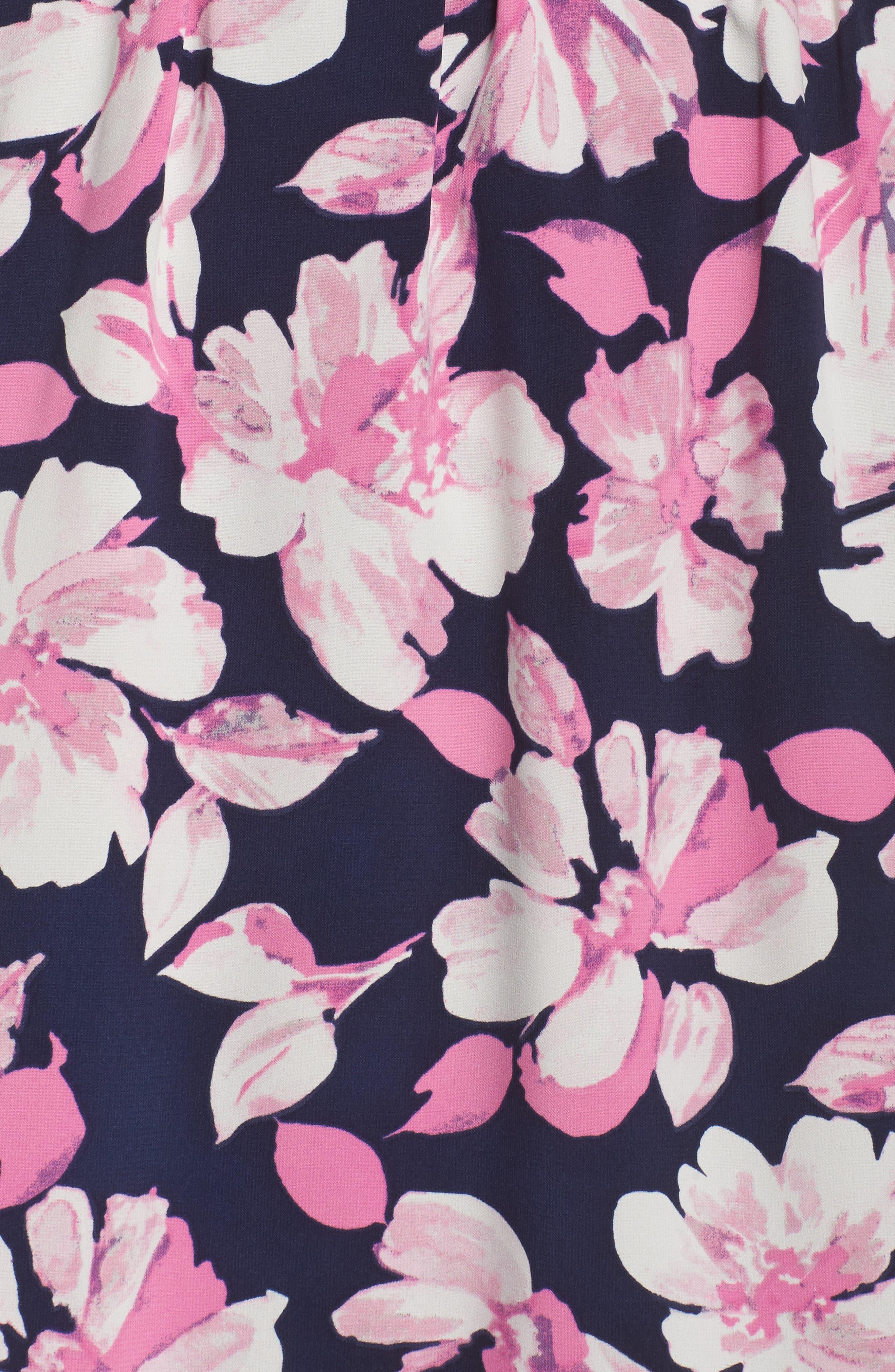Print Faux Wrap Dress,                             Alternate thumbnail 5, color,                             Navy/ Pink