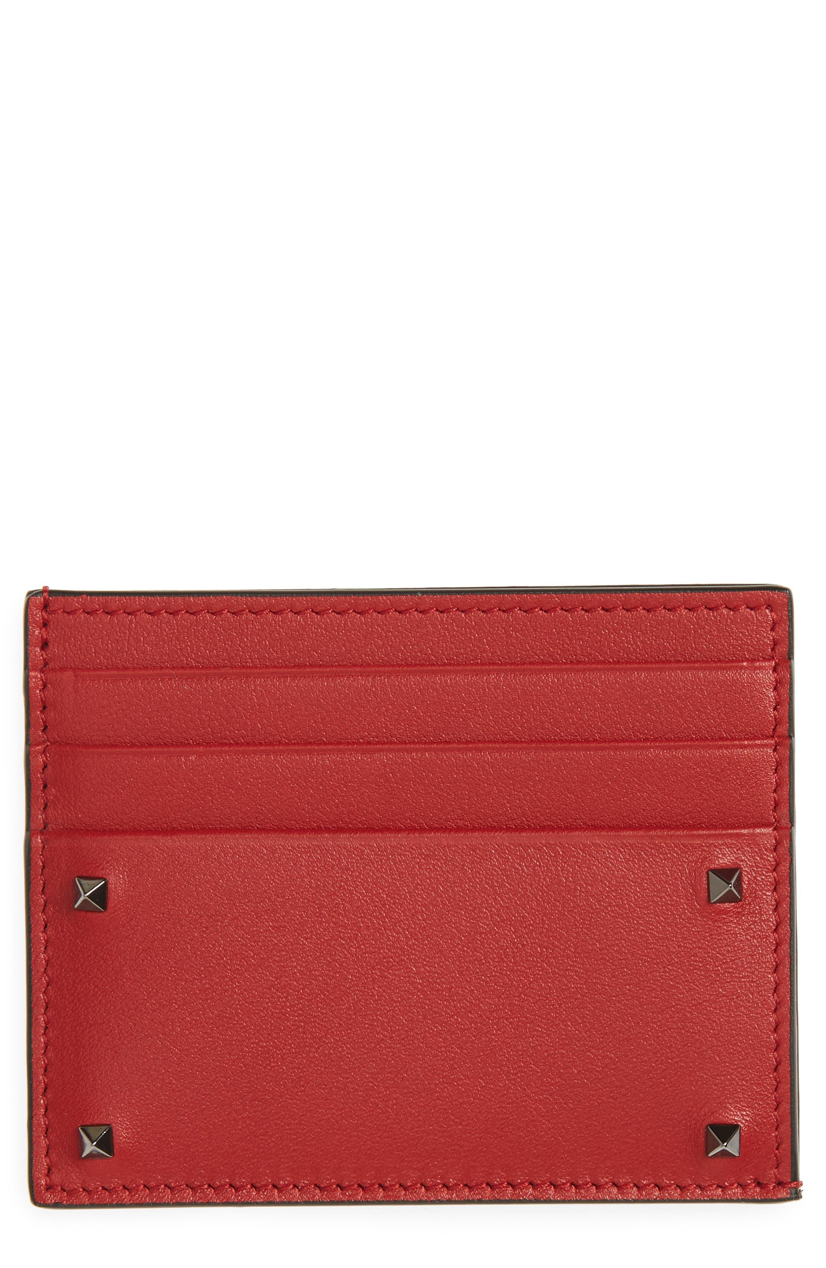 GARAVANI Mini Rock Stud Leather Card Case,                         Main,                         color, Red