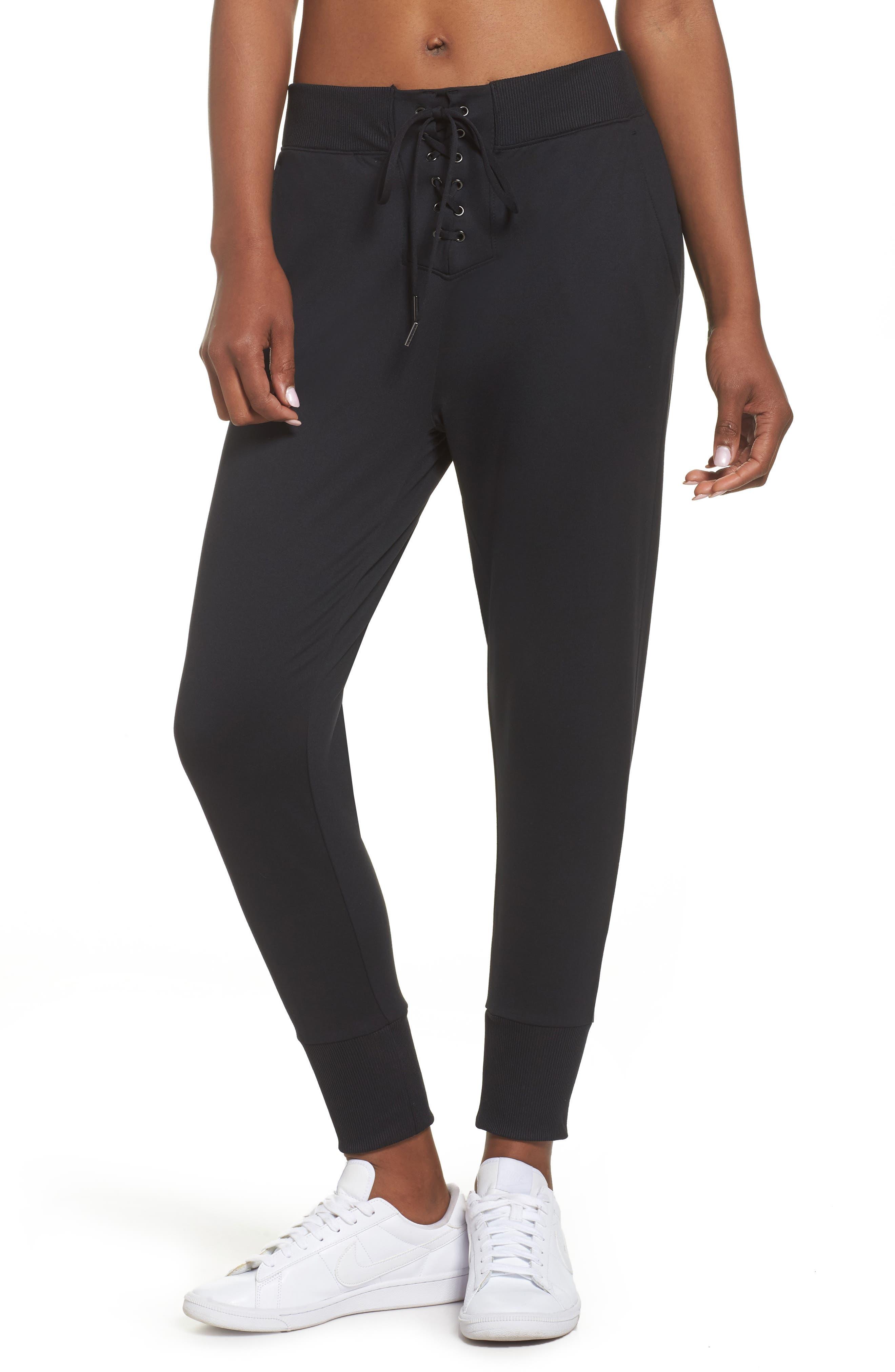 Lace & Repeat Crop Pants,                             Main thumbnail 1, color,                             Black