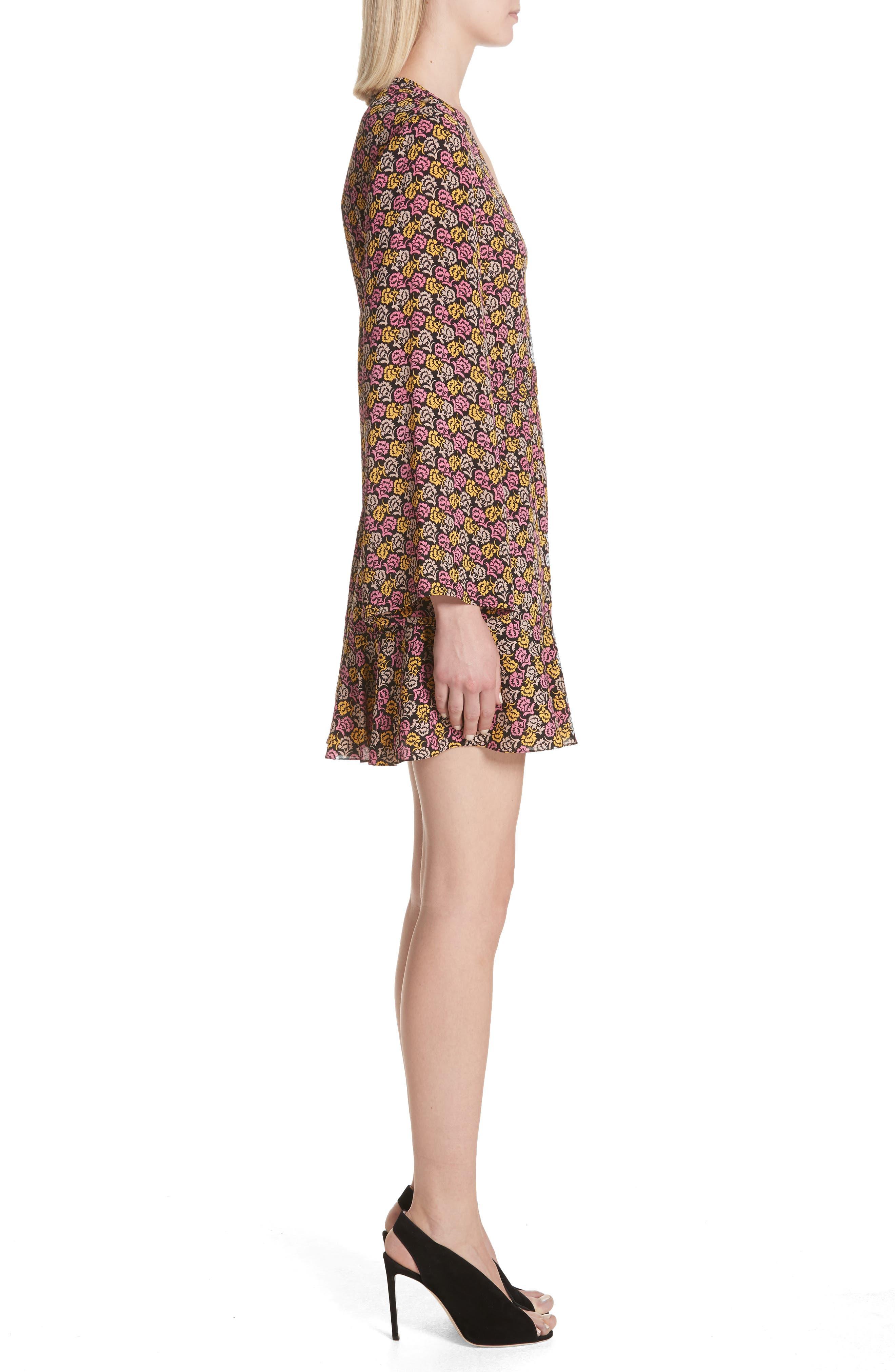 Whitney Bell Sleeve Silk Wrap Dress,                             Alternate thumbnail 3, color,                             Pink Multi