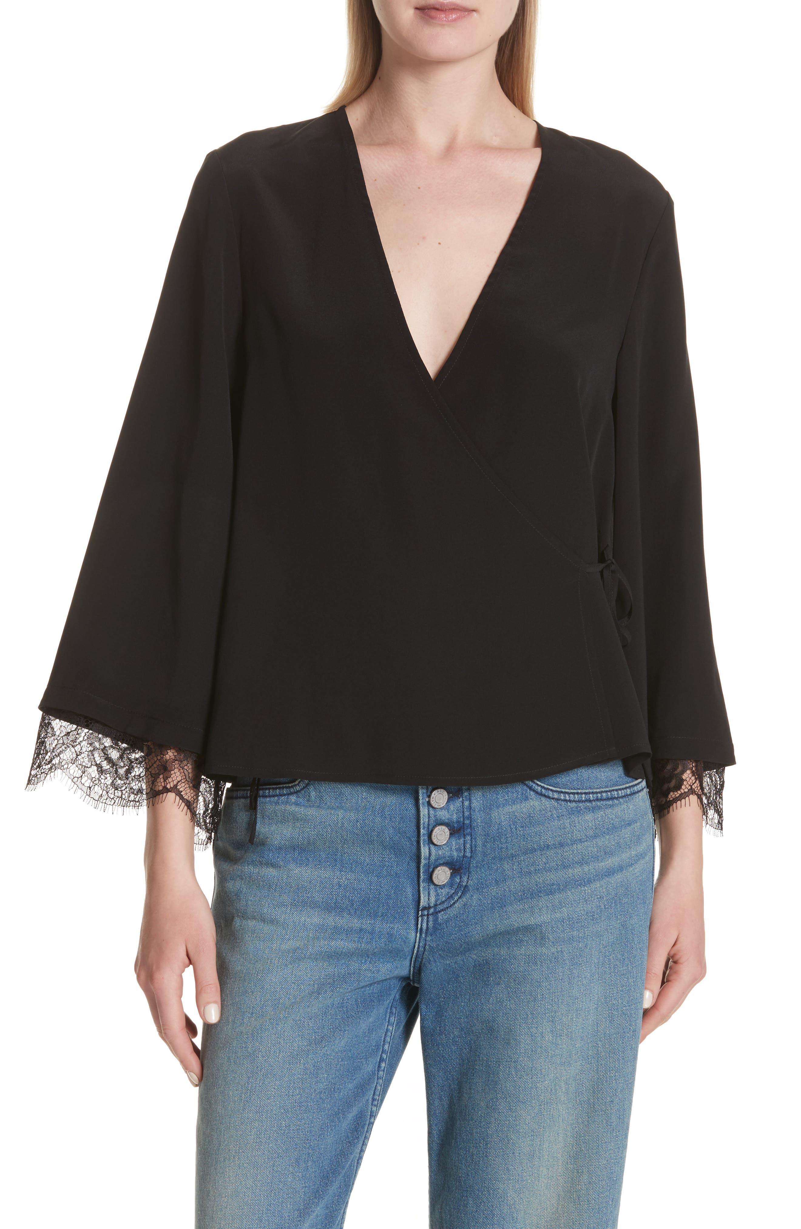 Main Image - A.L.C. Riona Lace Trim Silk Wrap Blouse