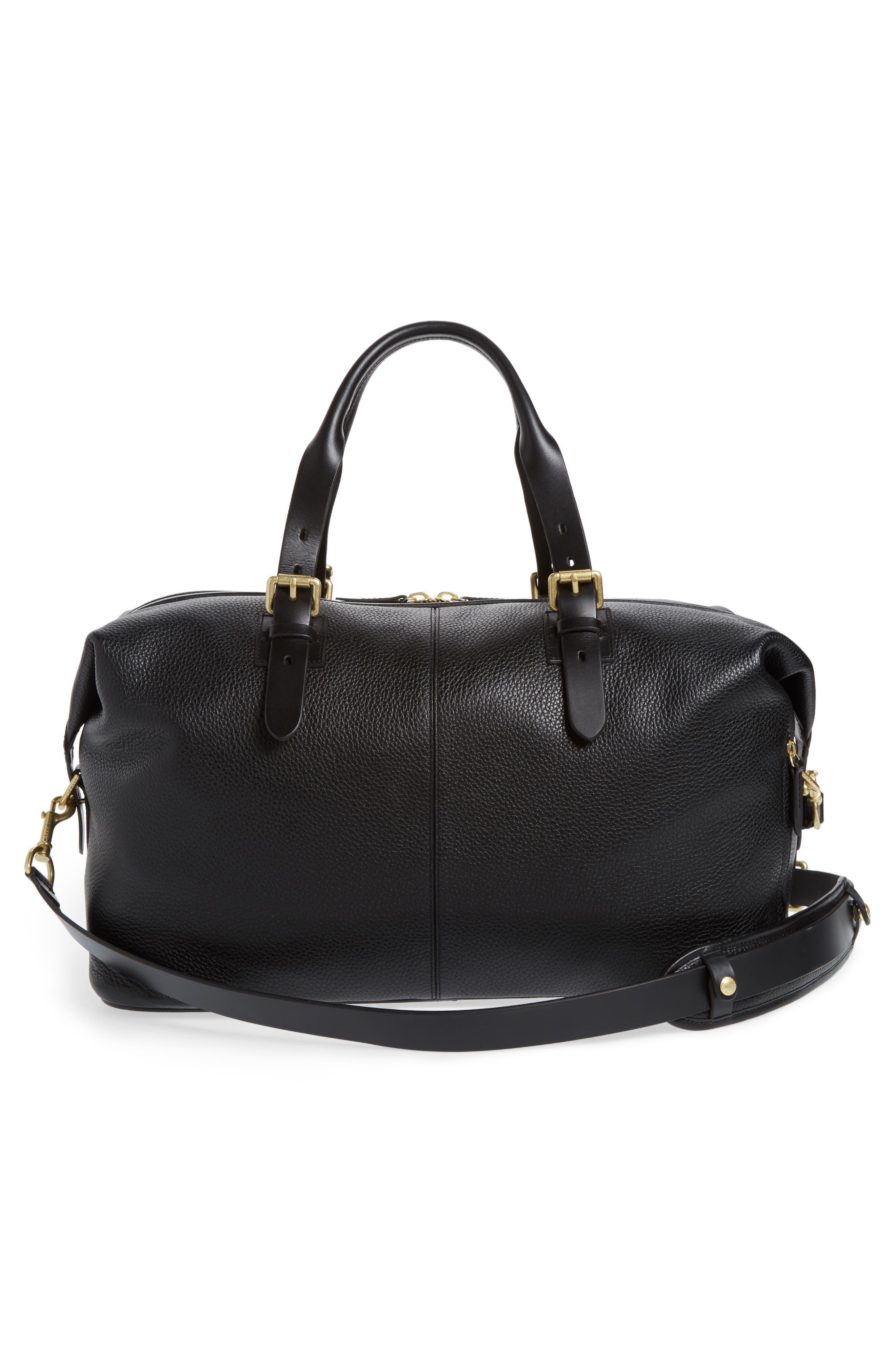 Leather Duffel Bag,                             Alternate thumbnail 3, color,                             Black