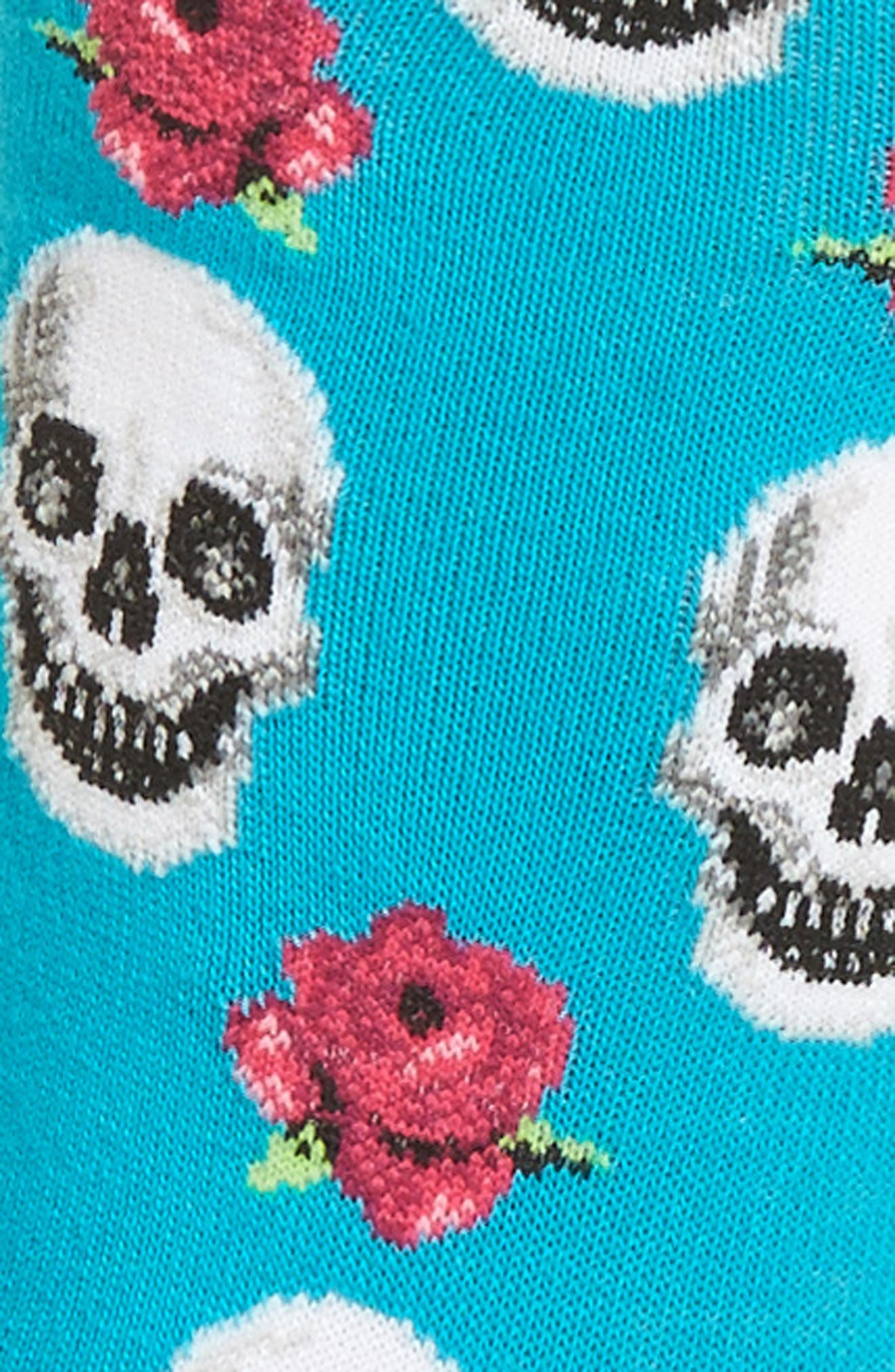 Skull & Roses Crew Socks,                             Alternate thumbnail 2, color,                             Turquoise