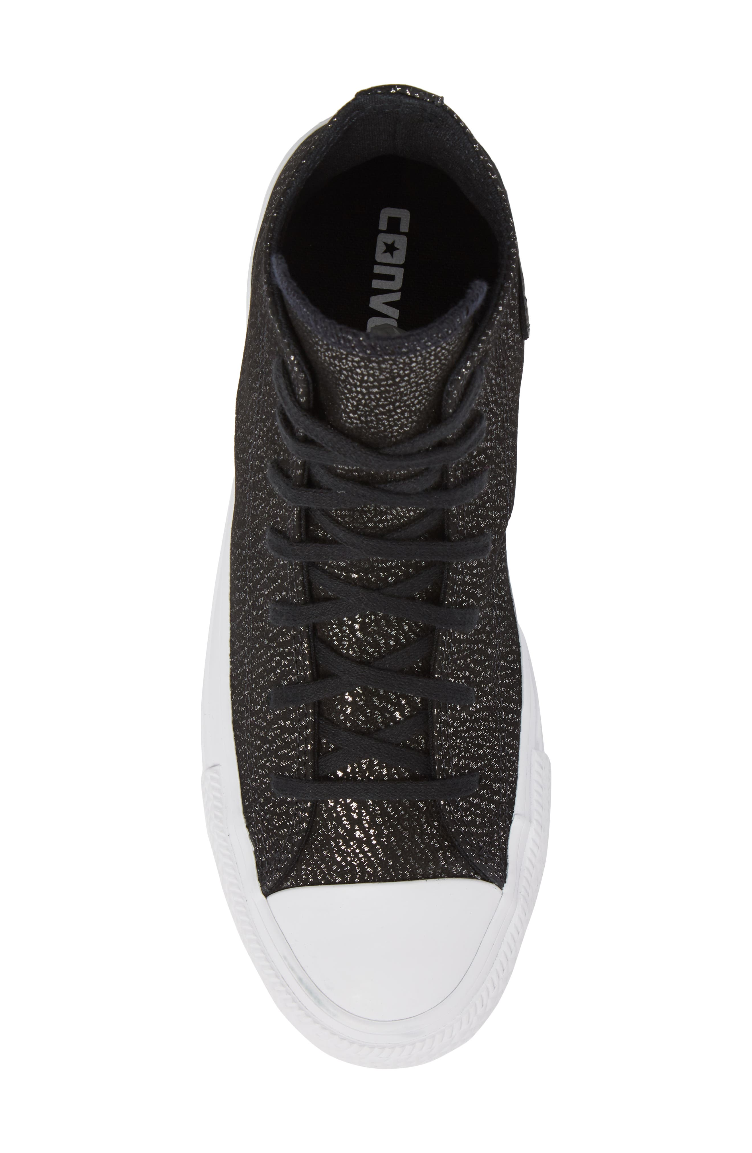 Chuck Taylor<sup>®</sup> All Star<sup>®</sup> Tipped Metallic High Top Sneaker,                             Alternate thumbnail 5, color,                             Black