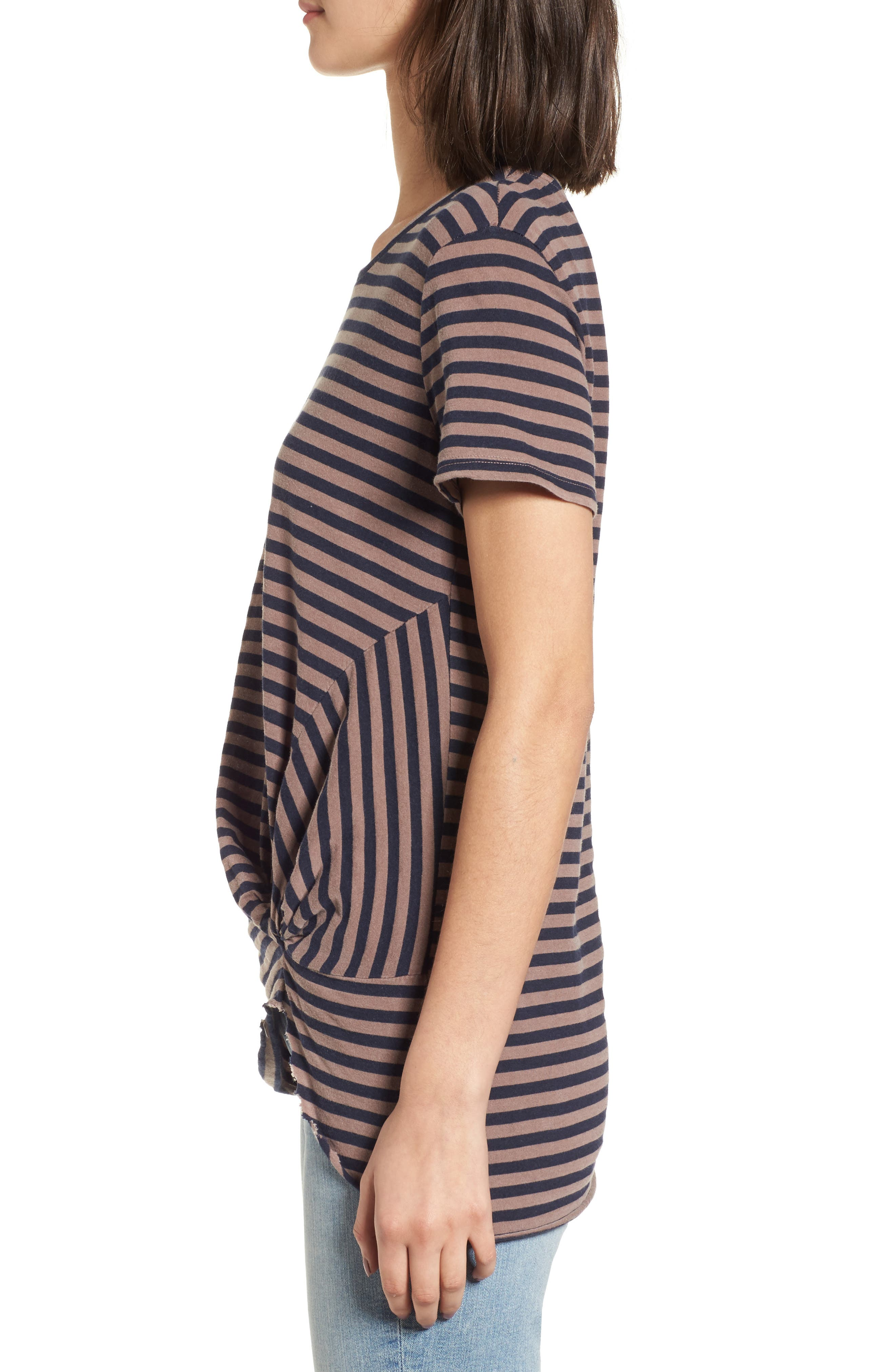 Stripe Twist Front Tee,                             Alternate thumbnail 3, color,                             Mocha