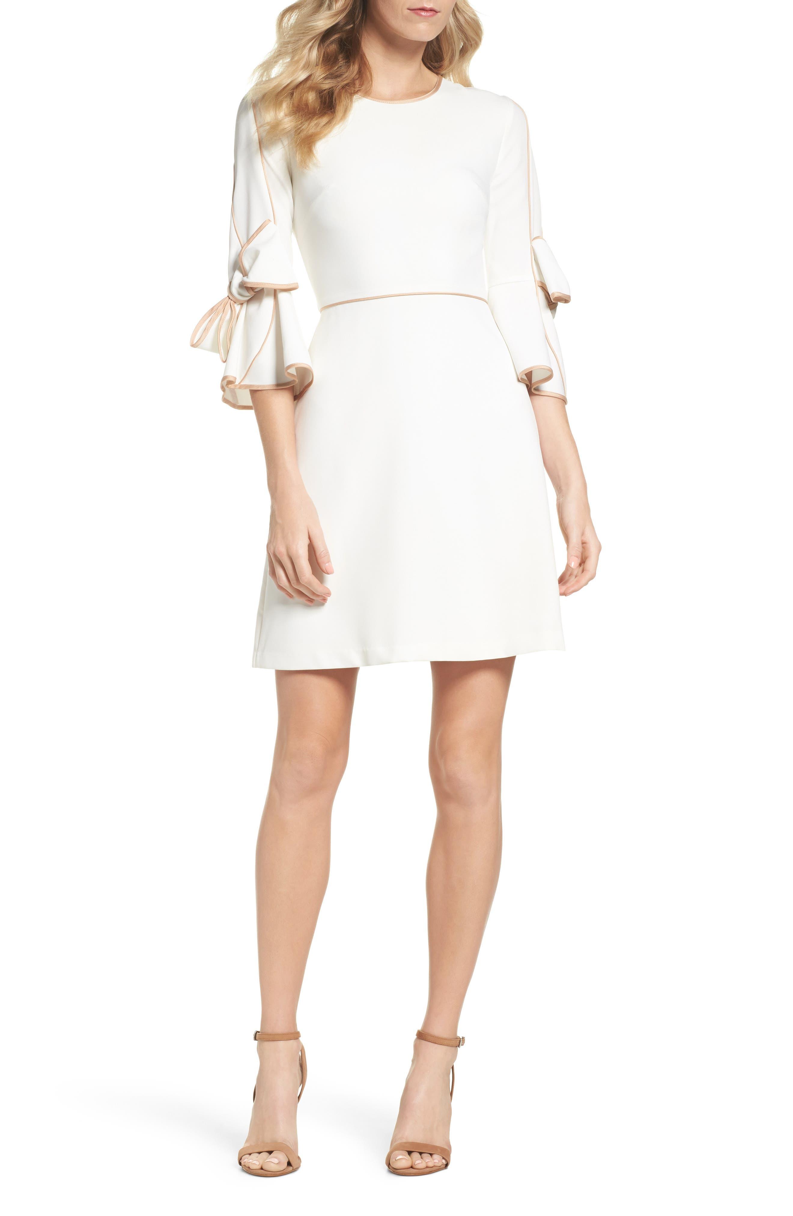 Bow Sleeve Crepe A-Line Dress,                             Main thumbnail 1, color,                             Ivory Tan