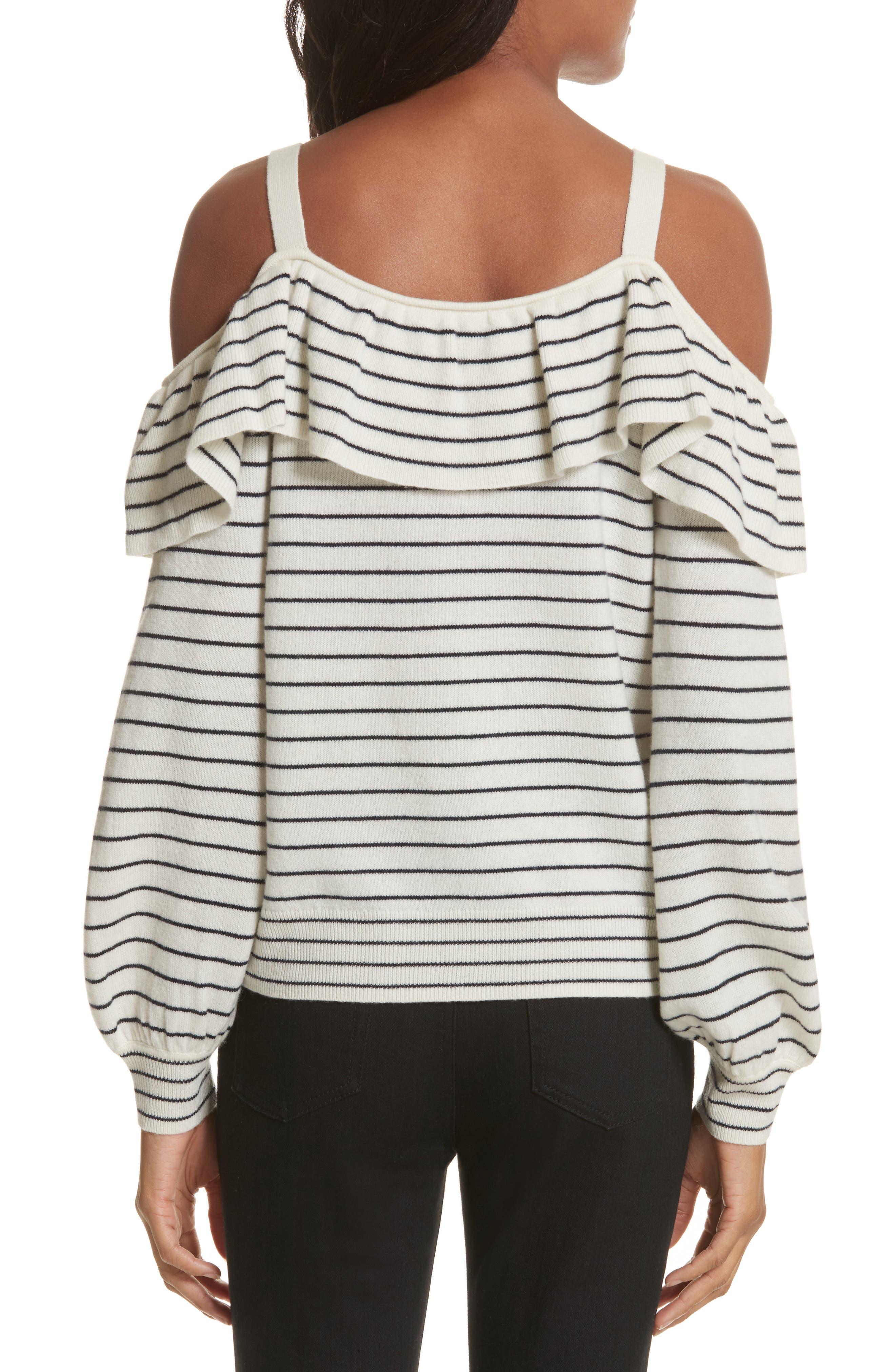 Delbin B Stripe Cold Shoulder Sweater,                             Alternate thumbnail 2, color,                             Porcelain/ Midnight