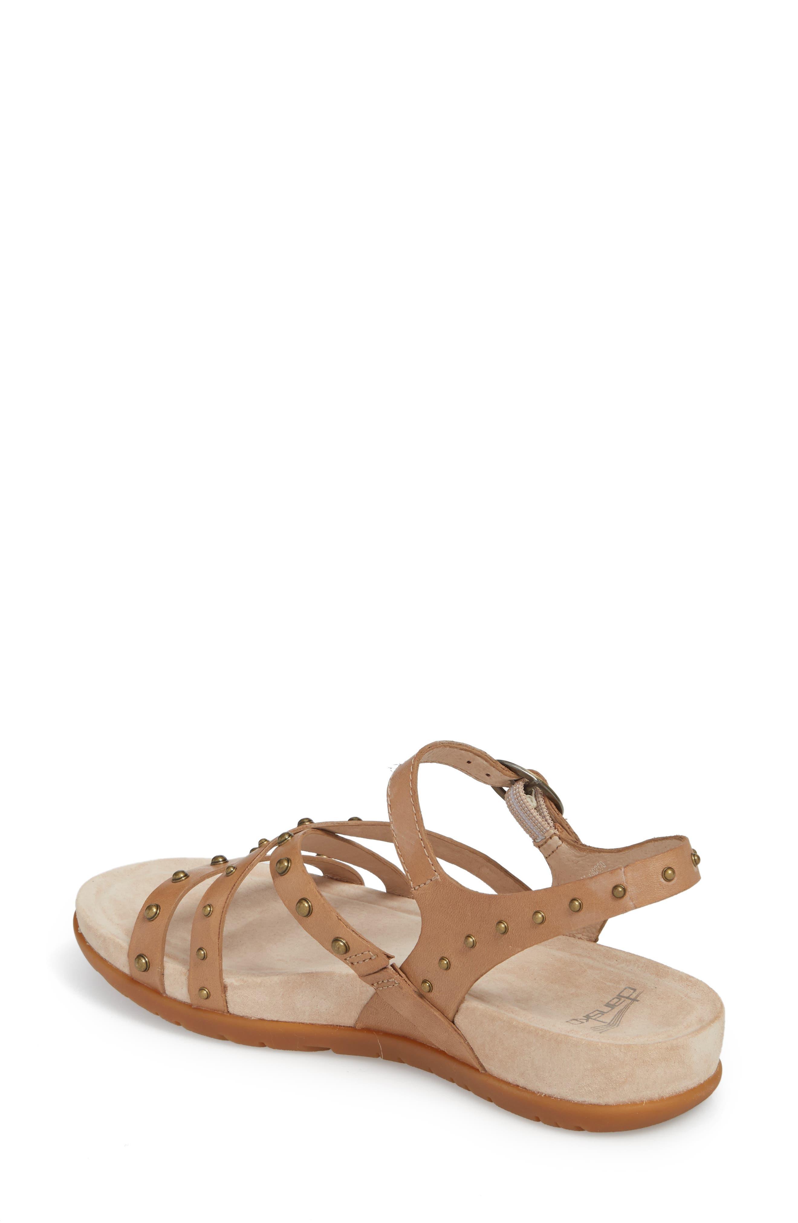 Brigitte Studded Strappy Sandal,                             Alternate thumbnail 2, color,                             Sand Leather