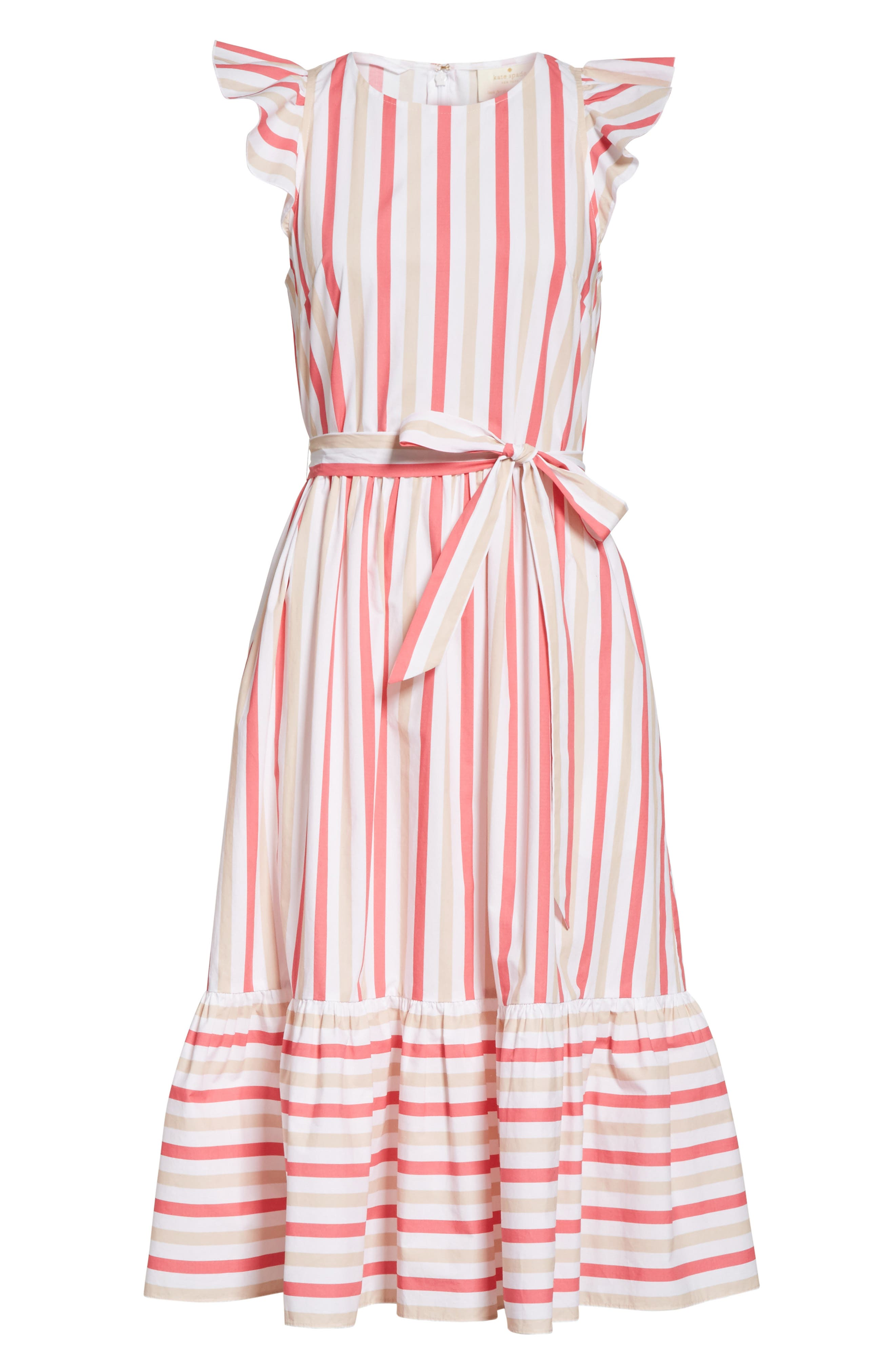 stripe poplin midi dress,                             Alternate thumbnail 6, color,                             Peach Sherbet
