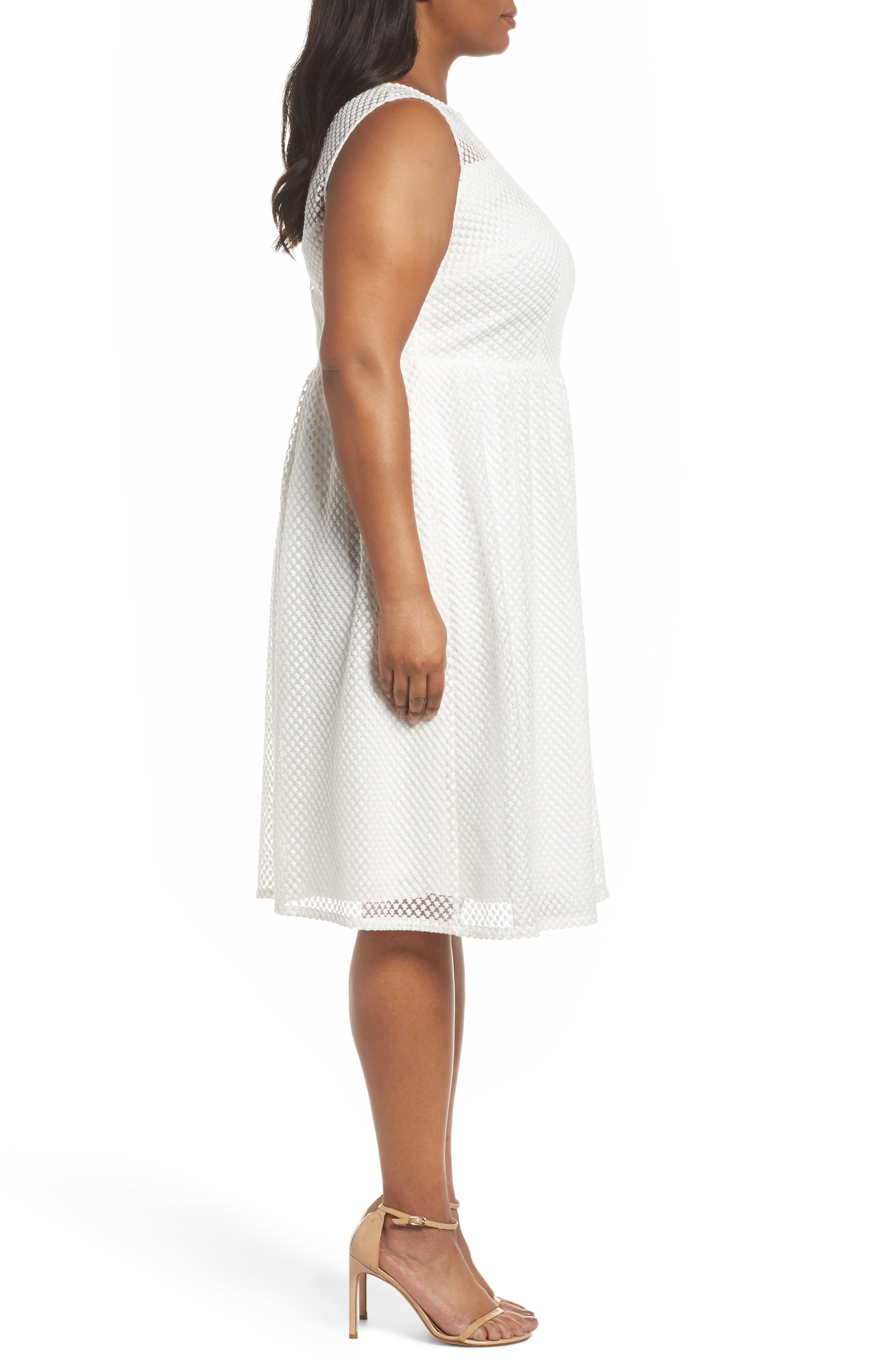 Adrianne Papell Diamond Embroidered Fit & Flare Dress,                             Alternate thumbnail 3, color,                             Ivory