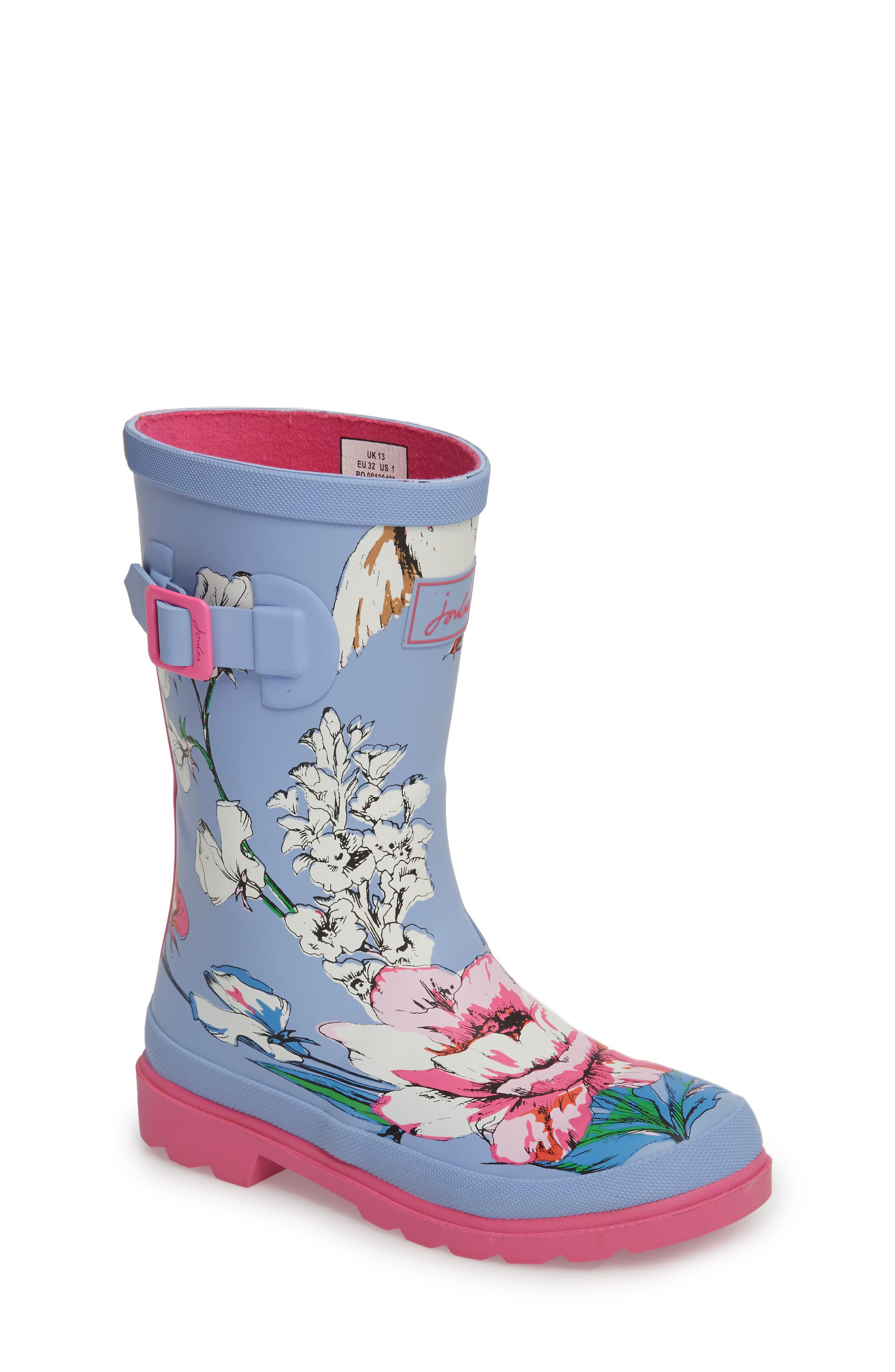 Joules Mid Height Print Welly Rain Boot (Toddler, Little Kid & Big Kid)