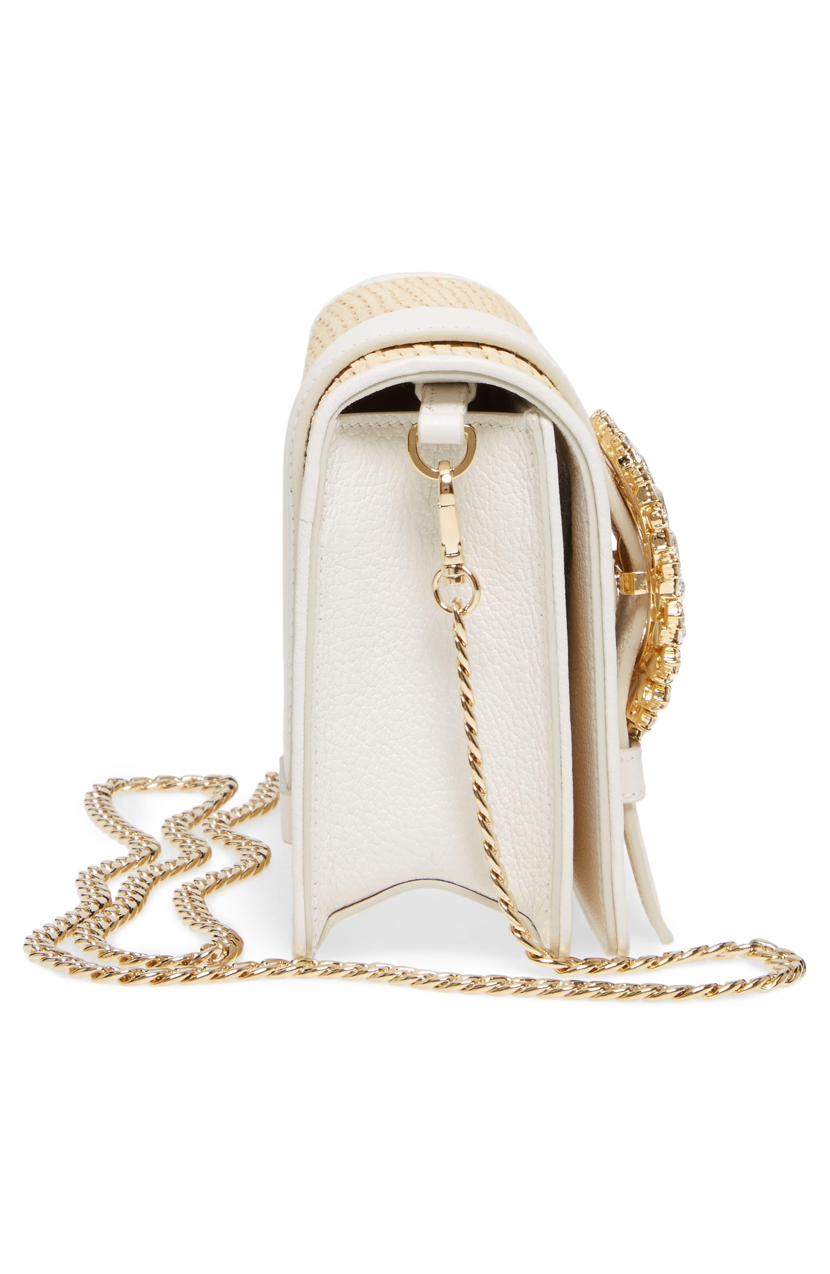 Woven Raffia & Leather Shoulder Bag,                             Alternate thumbnail 5, color,                             Naturale/ Bianco