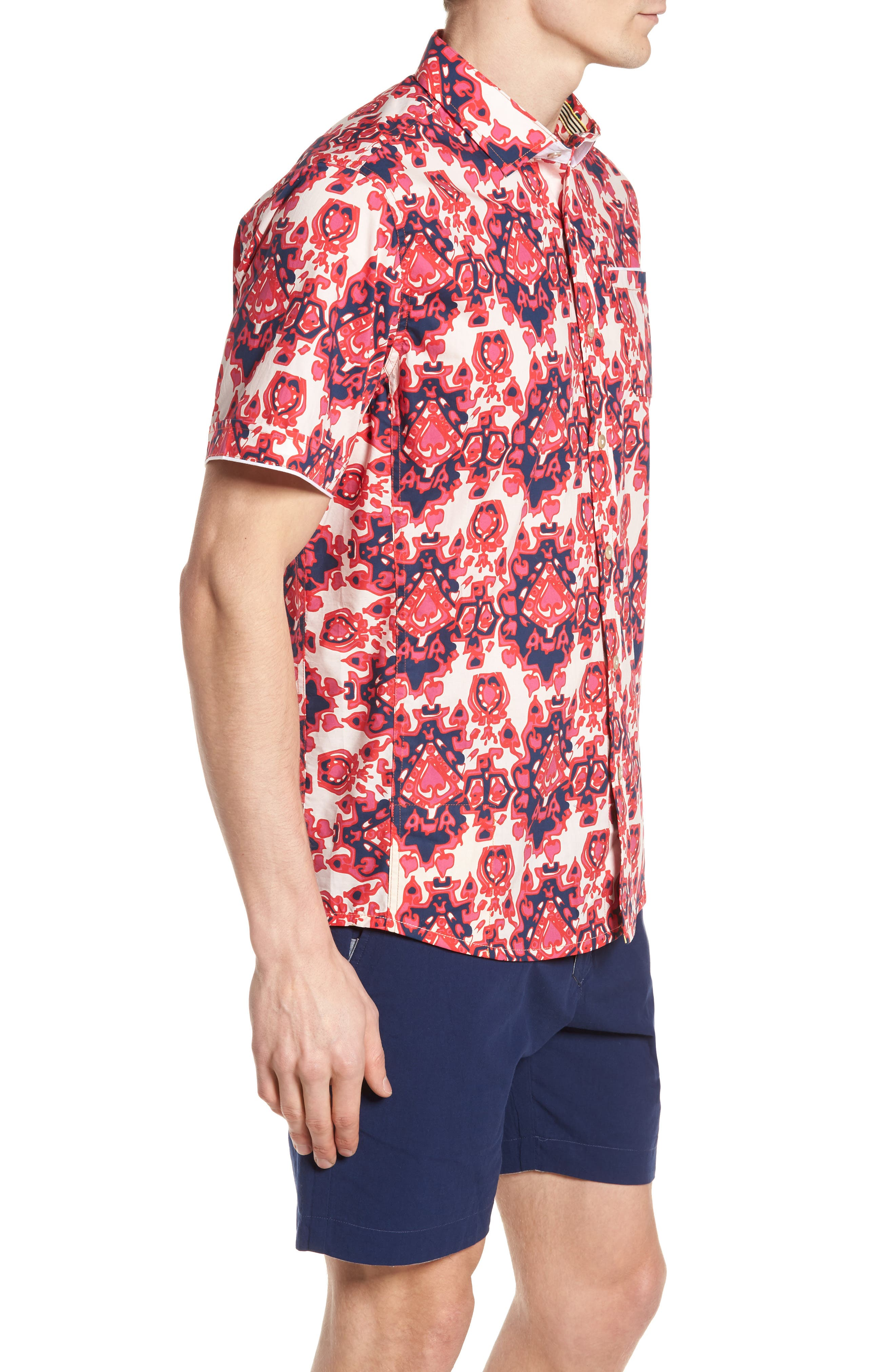 Abstract Culture Woven Shirt,                             Alternate thumbnail 4, color,                             Punch Red