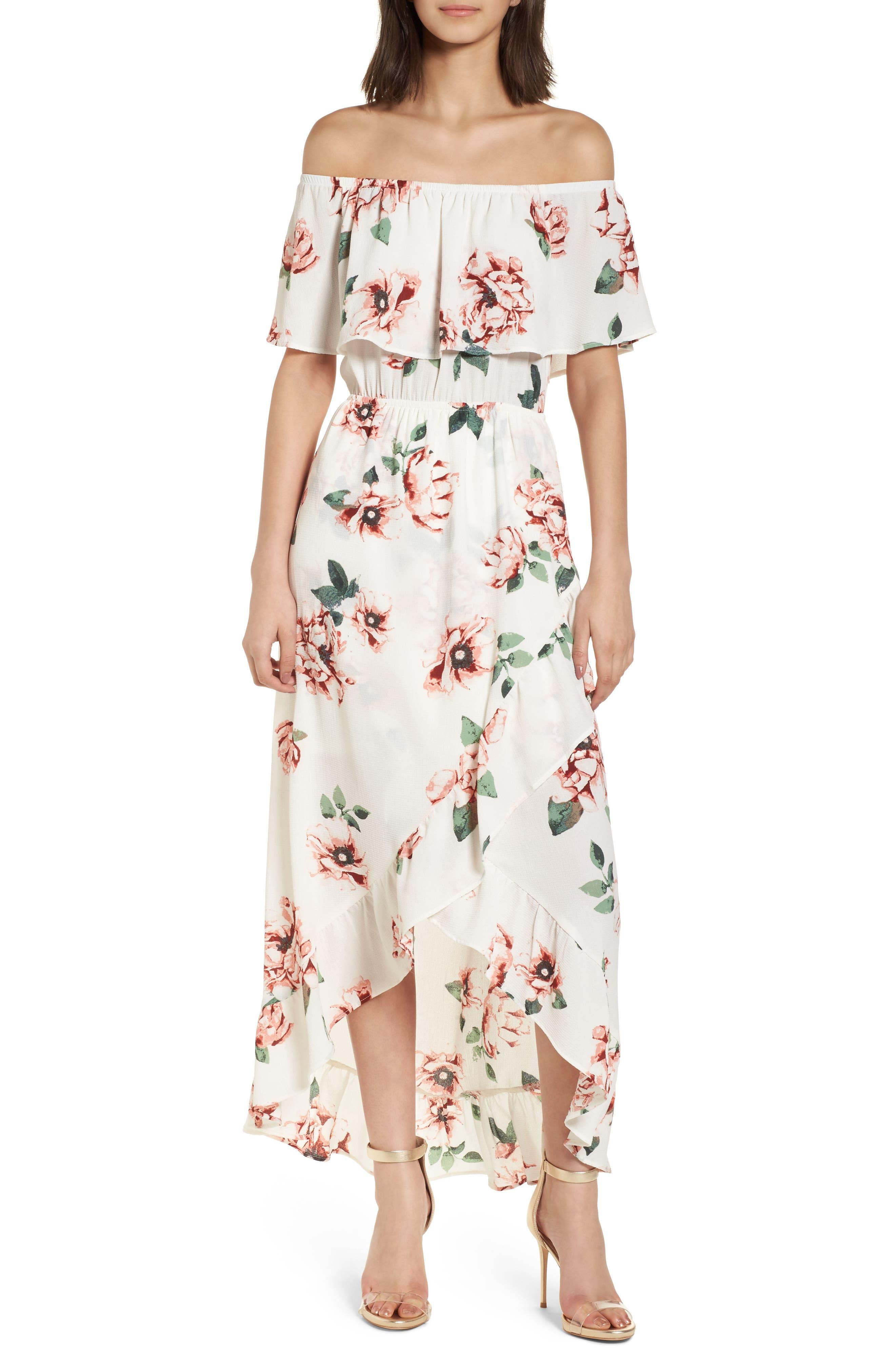 Off the Shoulder Maxi Dress,                             Main thumbnail 1, color,                             Ivory Floral
