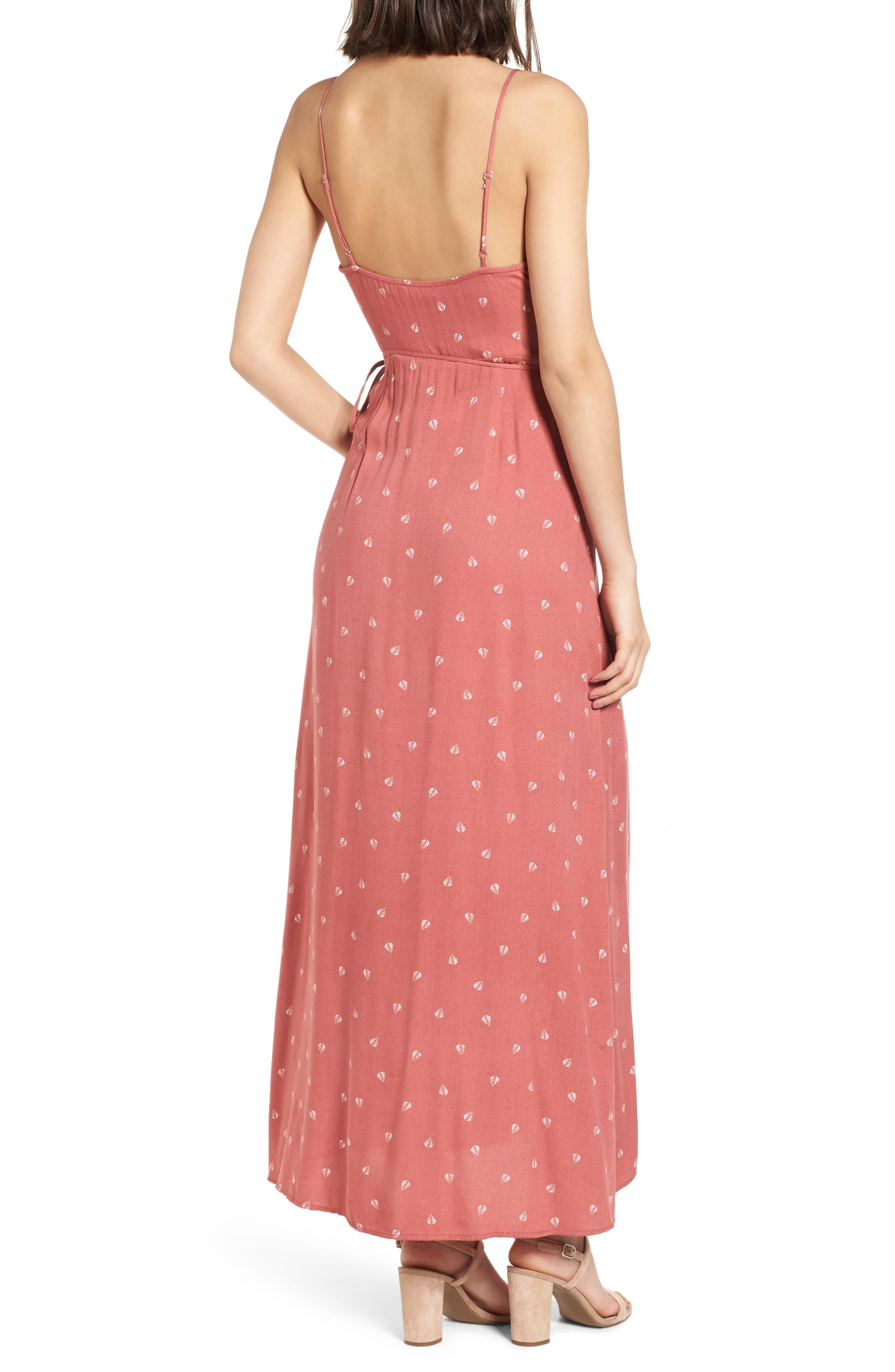 Cutout Wrap Front Maxi Dress,                             Alternate thumbnail 2, color,                             Mauve Leaf