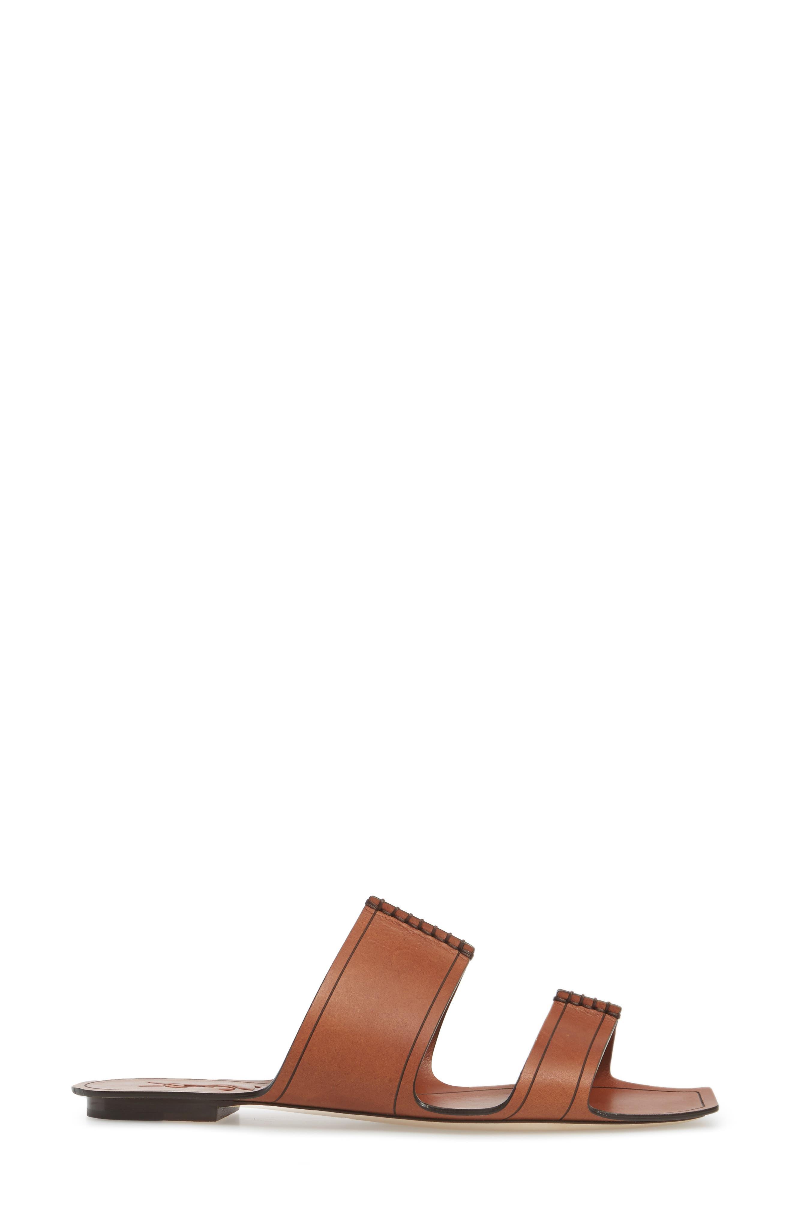 Double Band Slide Sandal,                             Alternate thumbnail 3, color,                             Caramel