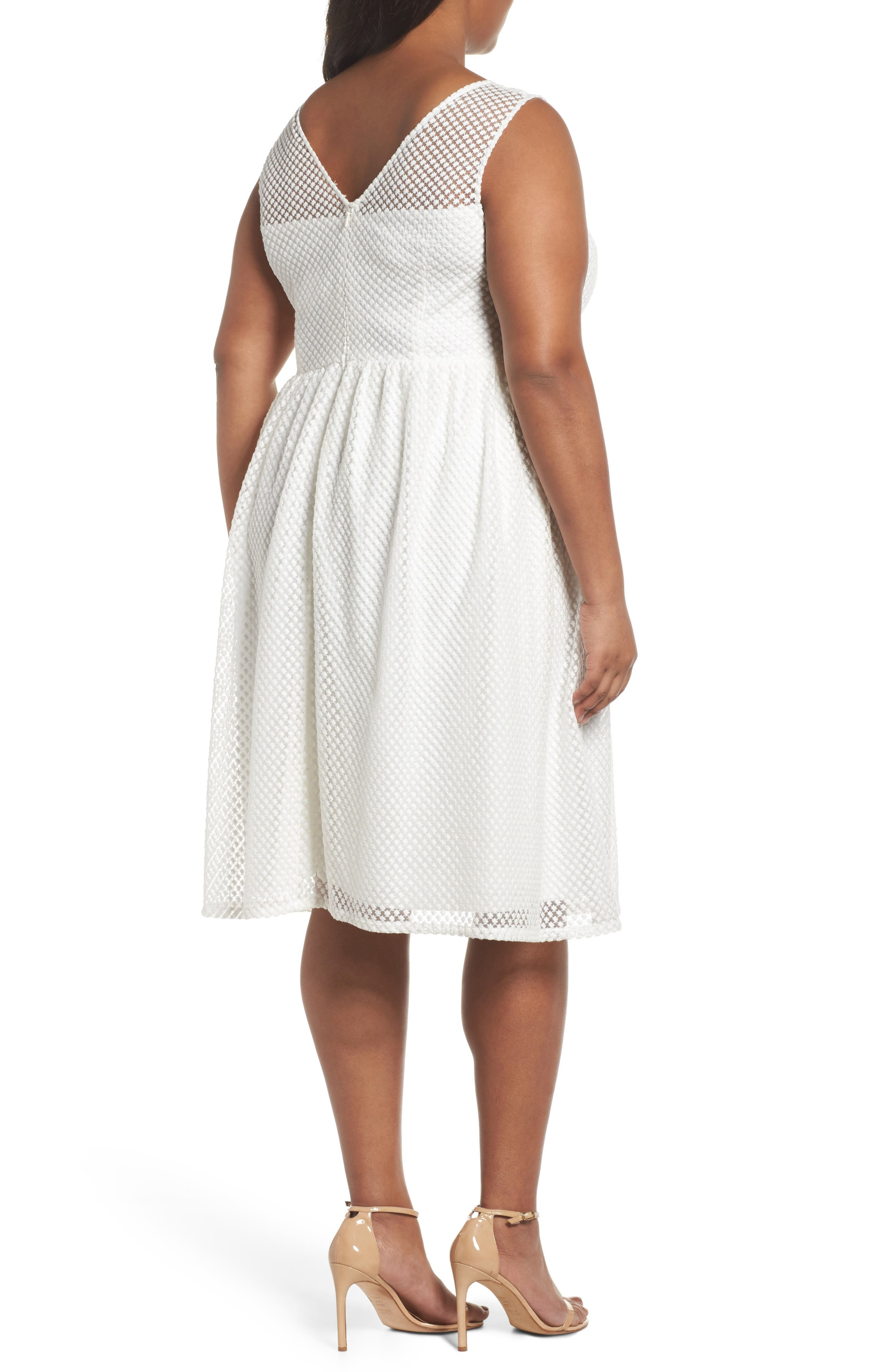 Adrianne Papell Diamond Embroidered Fit & Flare Dress,                             Alternate thumbnail 2, color,                             Ivory