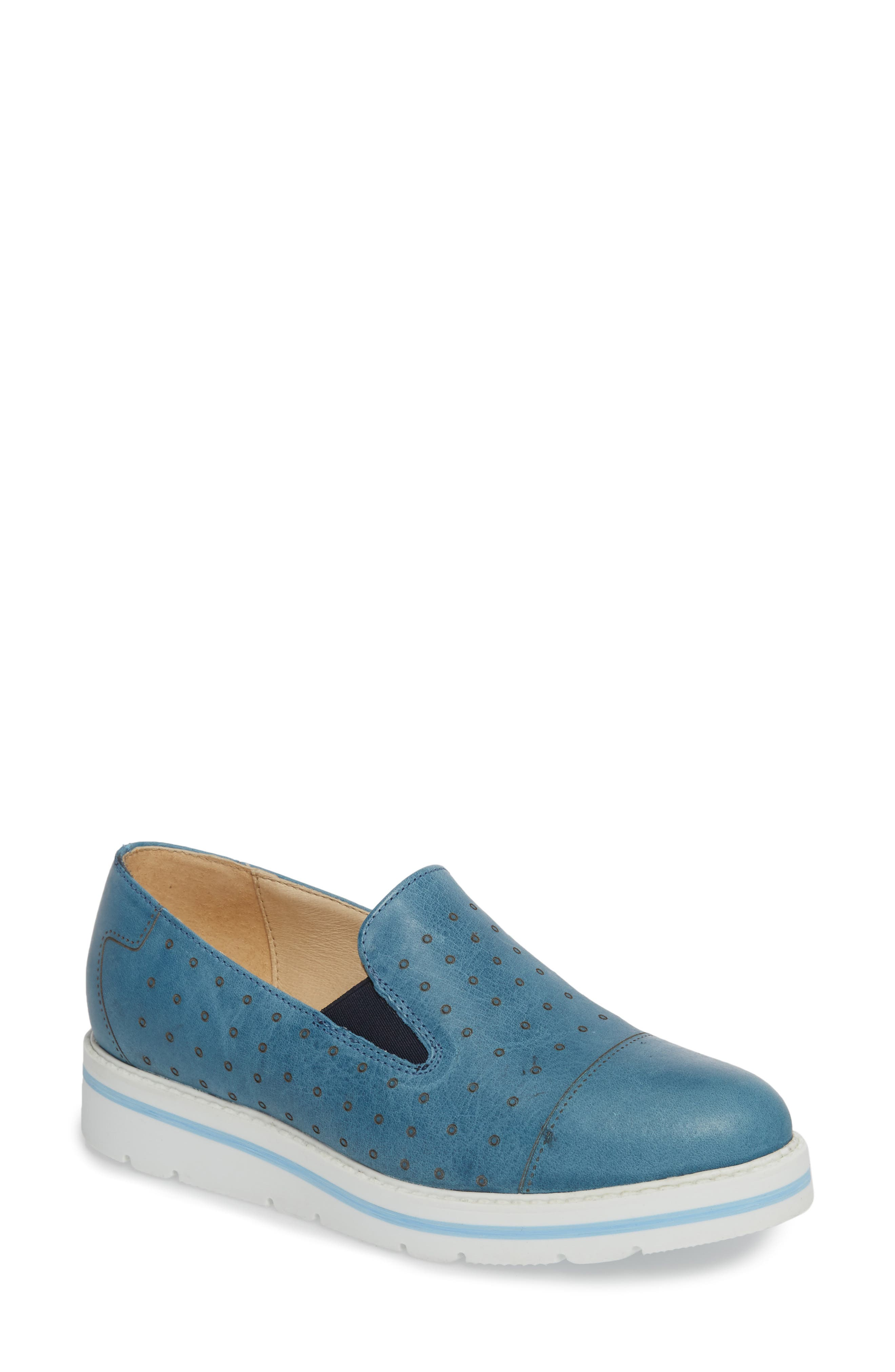 Leigh Slip-On Sneaker,                             Main thumbnail 1, color,                             Blue Glamour Leather