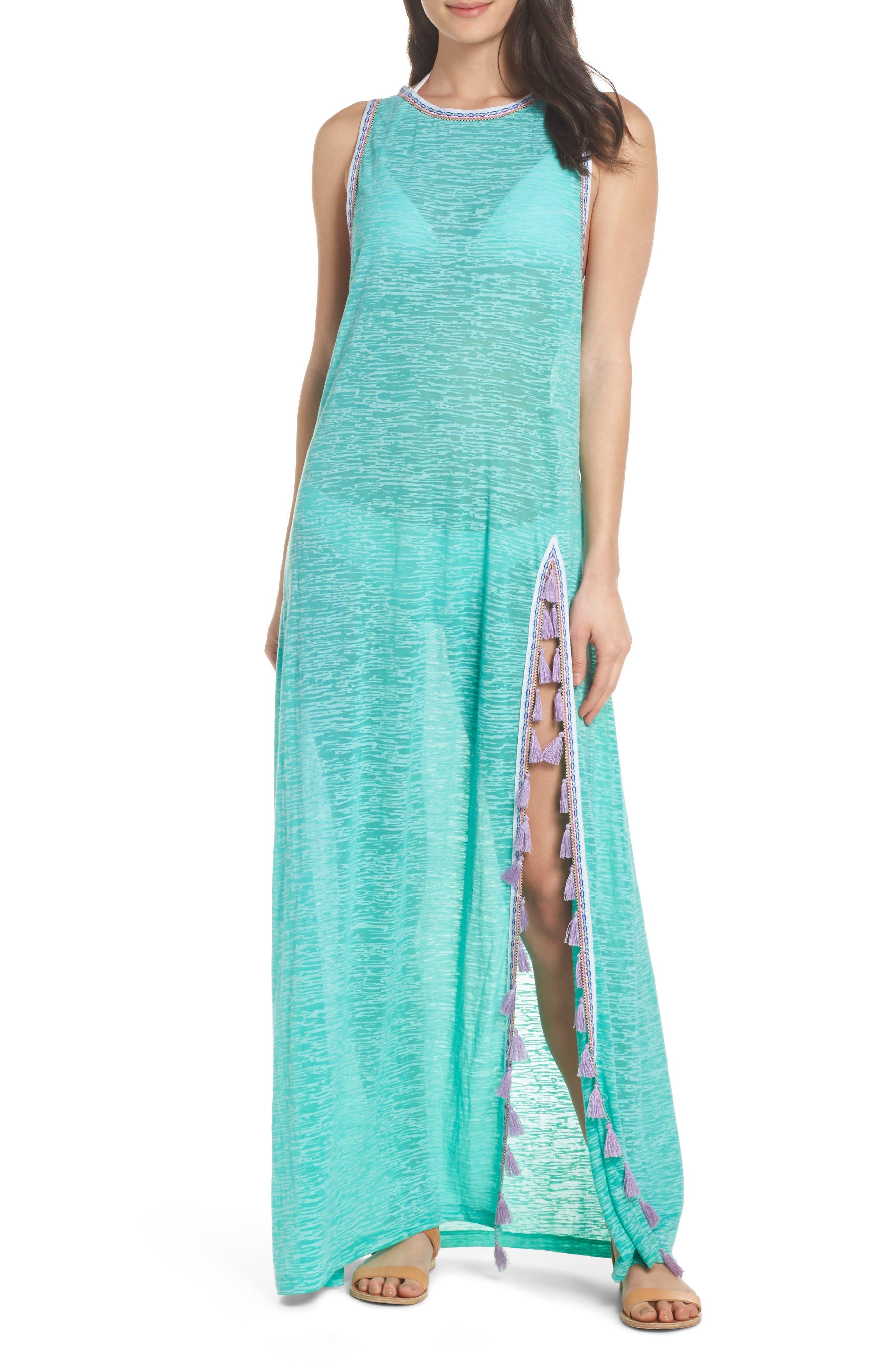 Tassel Slit Cover-Up Maxi Dress,                         Main,                         color, Mint