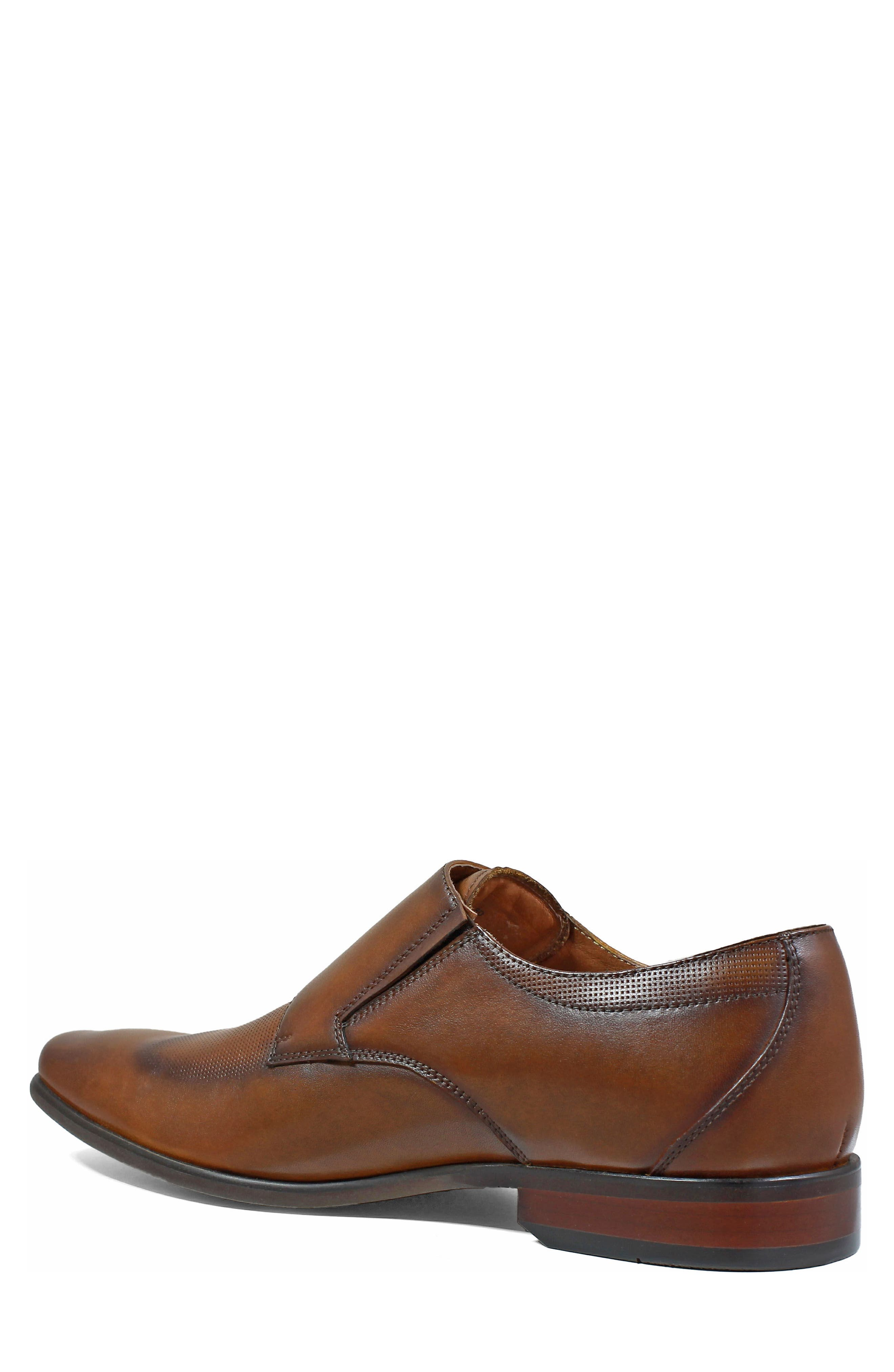 Postino Textured Double Strap Monk Shoe,                             Alternate thumbnail 2, color,                             Cognac Leather