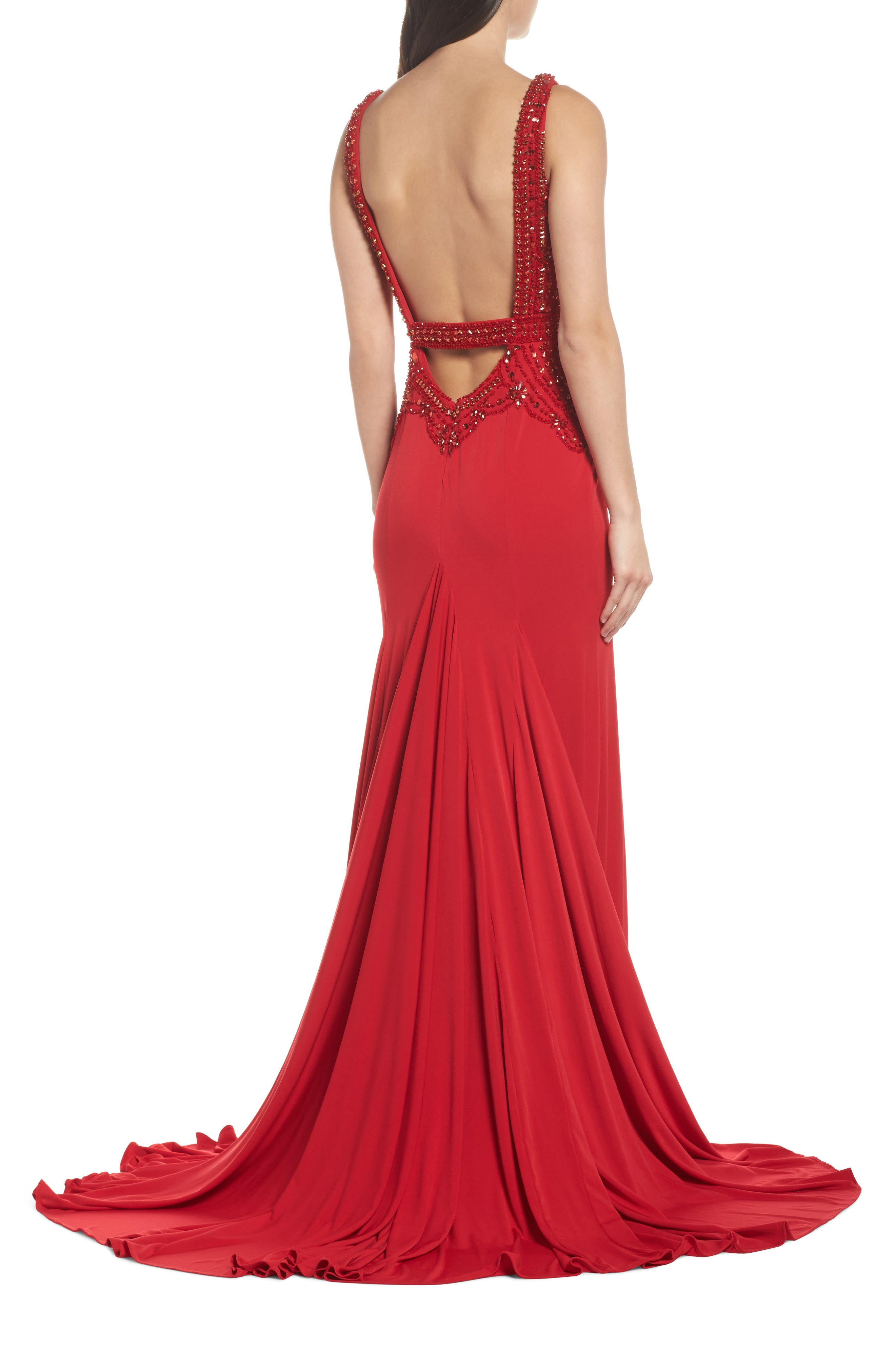 Beaded Bodice Sheath Gown,                             Alternate thumbnail 2, color,                             Red